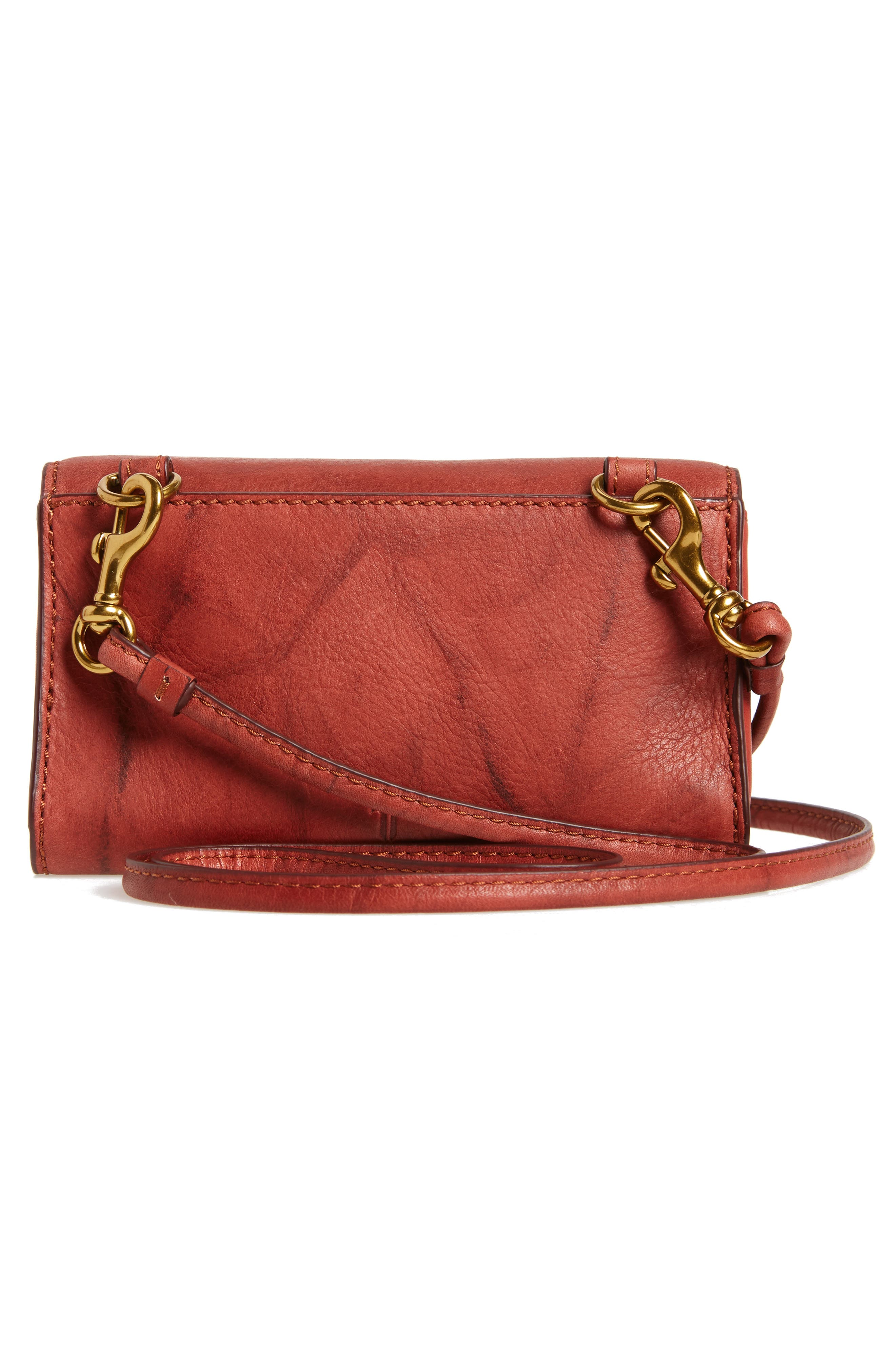 Campus Rivet Leather Smartphone Wallet with Crossbody Strap,                             Alternate thumbnail 4, color,                             Burnt Red