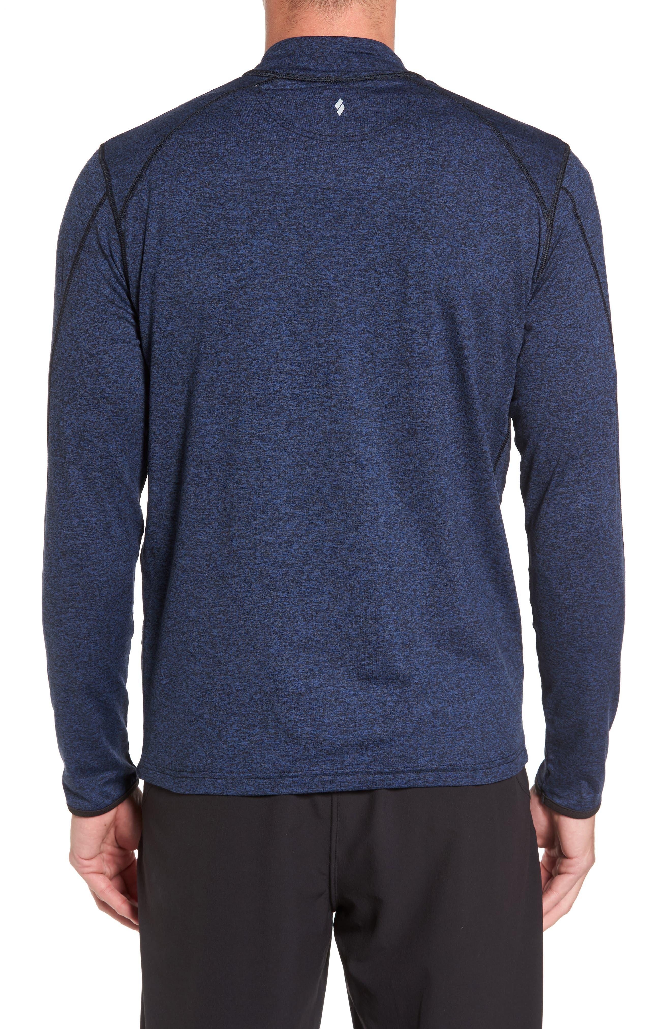 'Elevate' Moisture Wicking Stretch Quarter Zip Pullover,                             Alternate thumbnail 2, color,                             Navy Black/ Black/ White