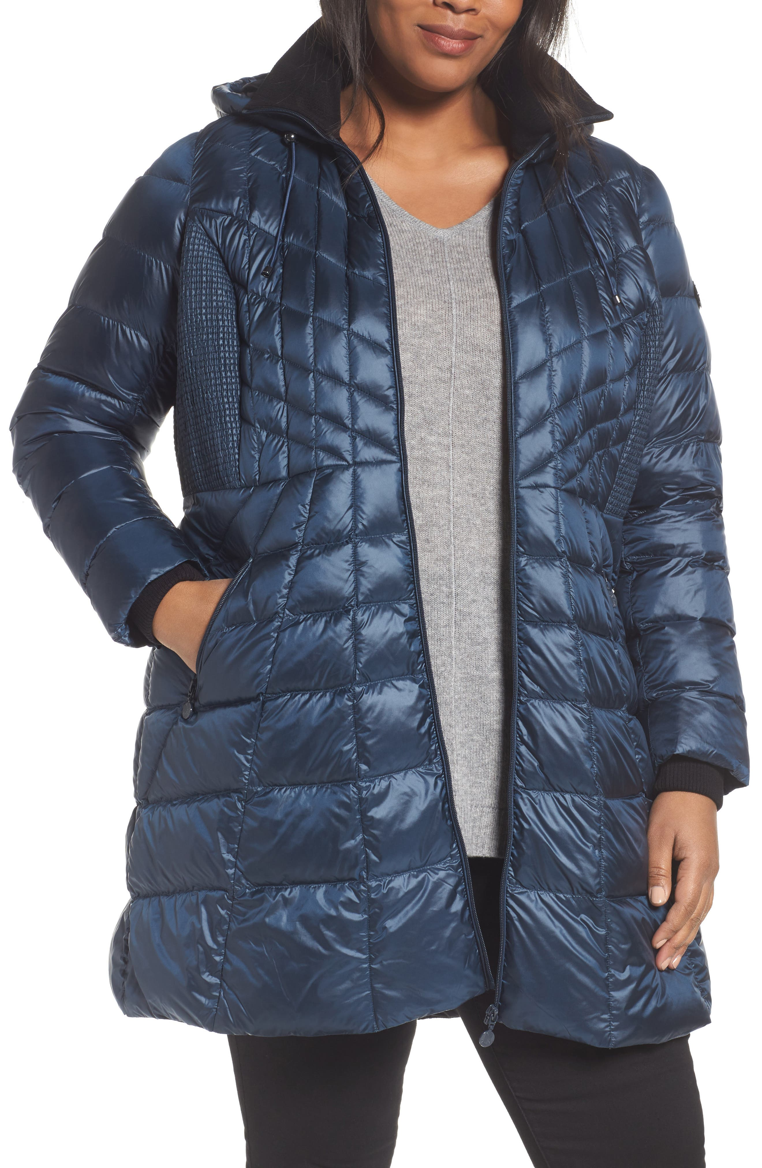 Bernardo Quilted Jacket with Down & PrimaLoft® Fill (Plus Size)