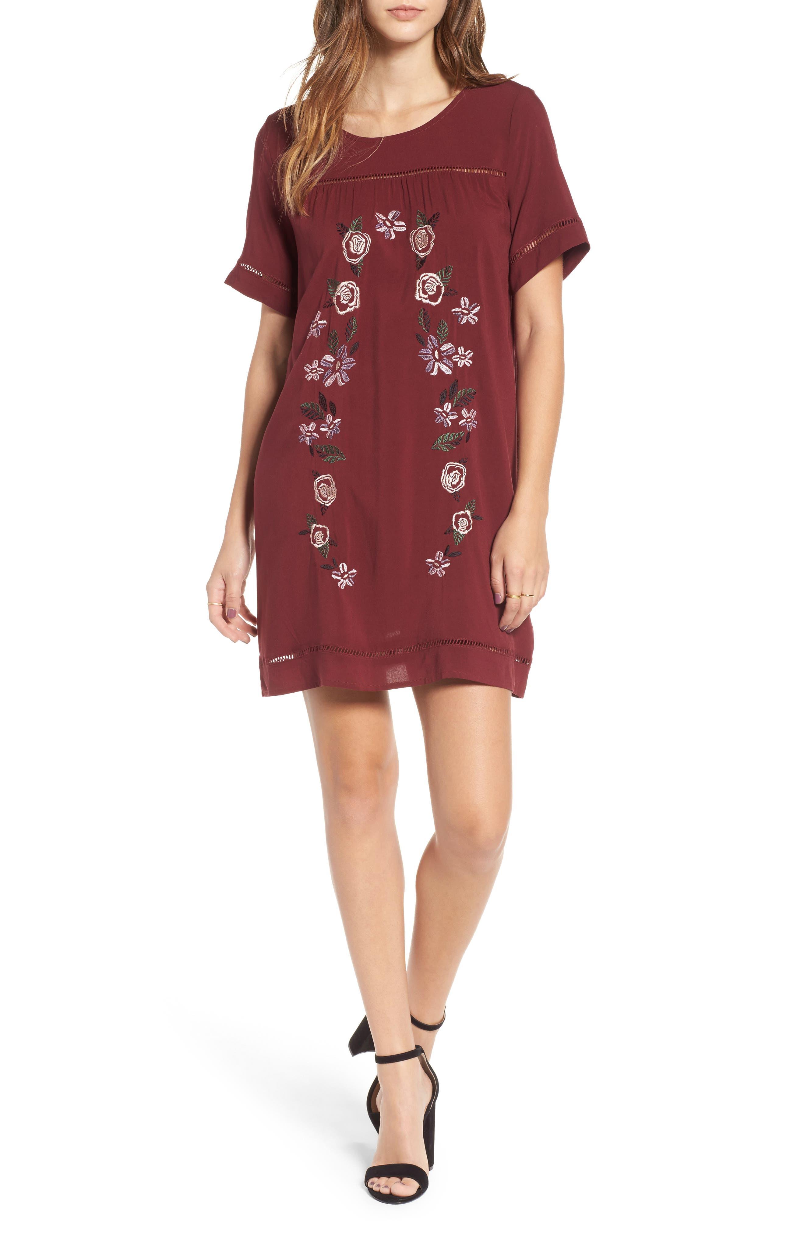 Embroidered Dress,                         Main,                         color, Zinfandel