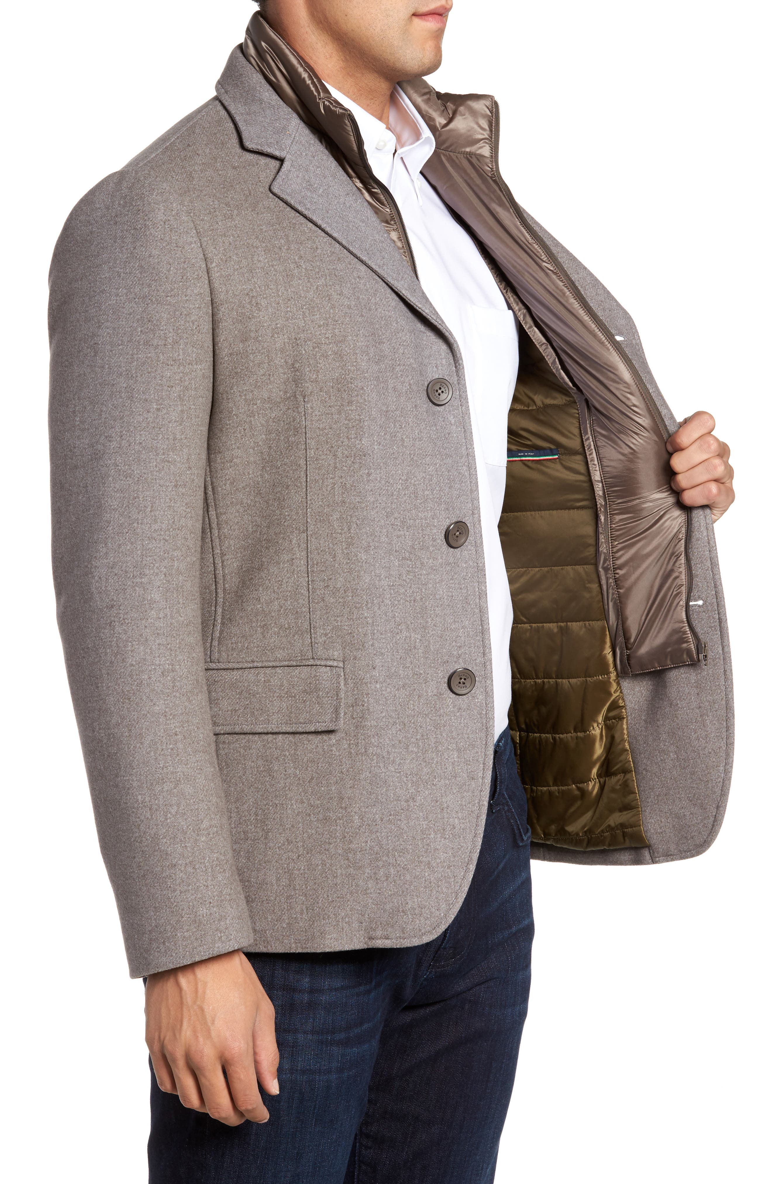 Wool Blend Blazer with Removable Quilted Bib,                             Alternate thumbnail 3, color,                             Oatmeal