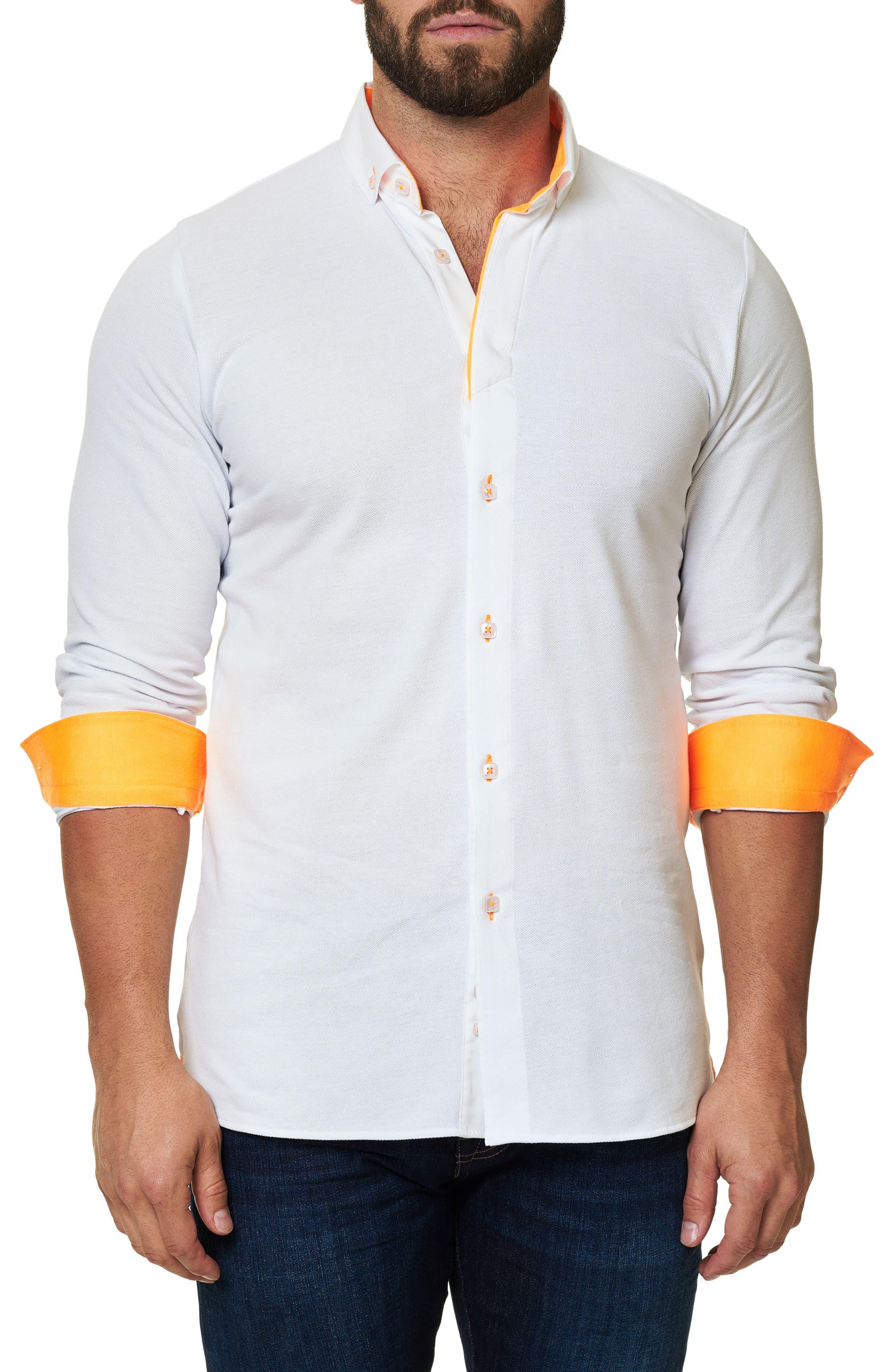 Long Sleeve Sport Shirt,                             Alternate thumbnail 3, color,                             Solid White