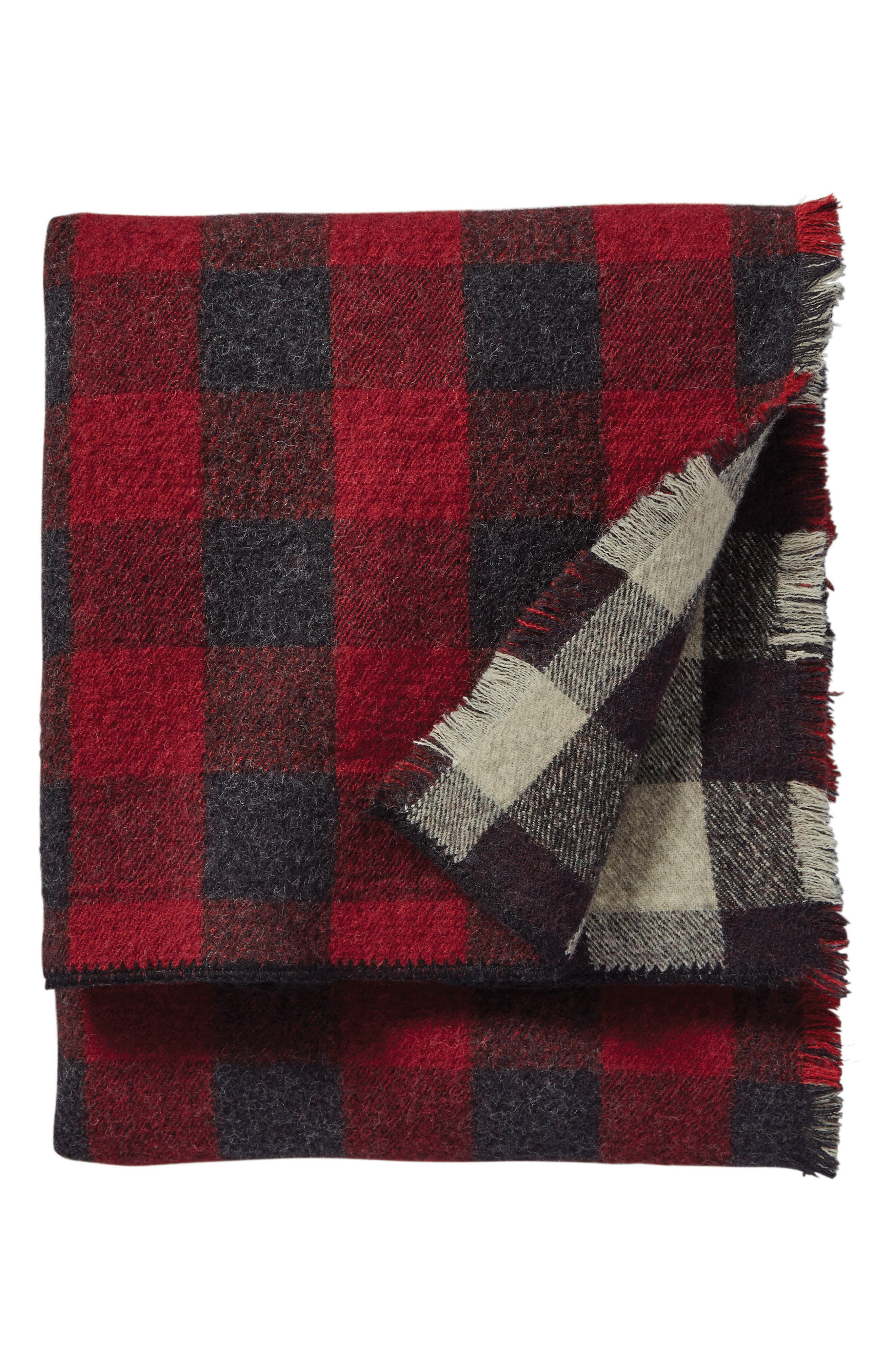Rob Roy Reversible Double Weave Wool Throw,                         Main,                         color, Red/ Black