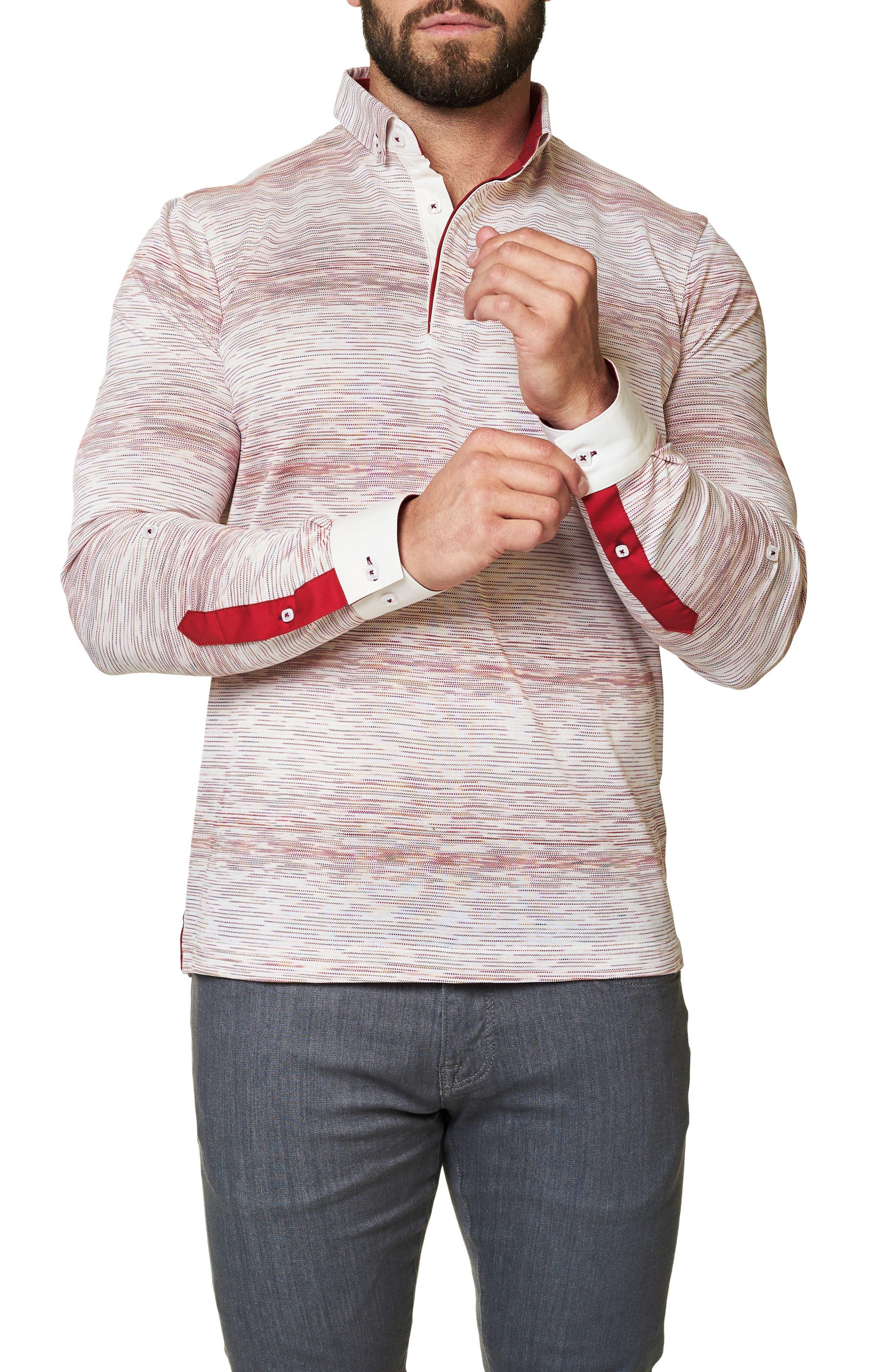 Stripe Long Sleeve Polo,                             Alternate thumbnail 3, color,                             Solid White