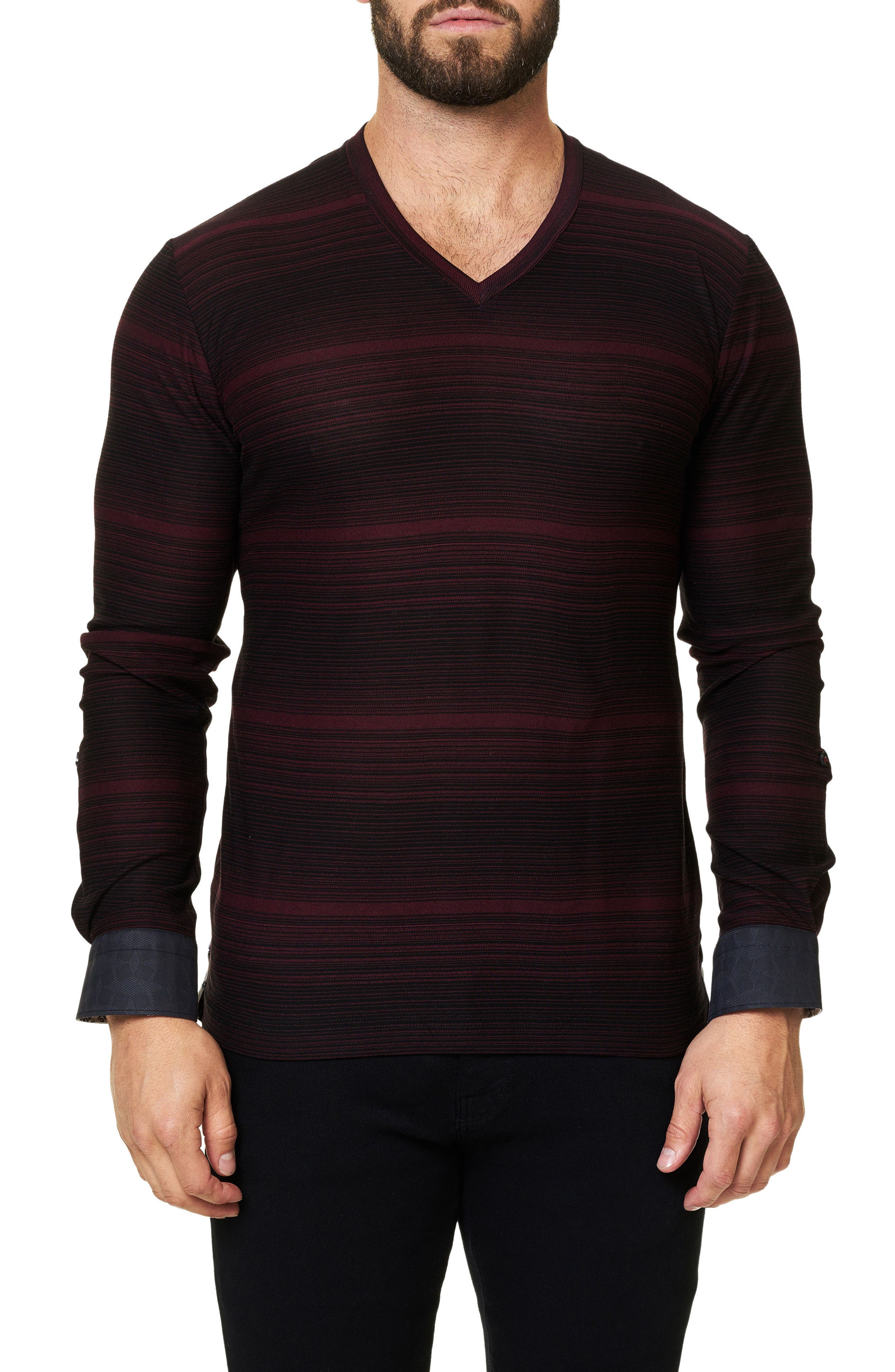 Main Image - Maceoo Stripe Long Sleeve V-Neck
