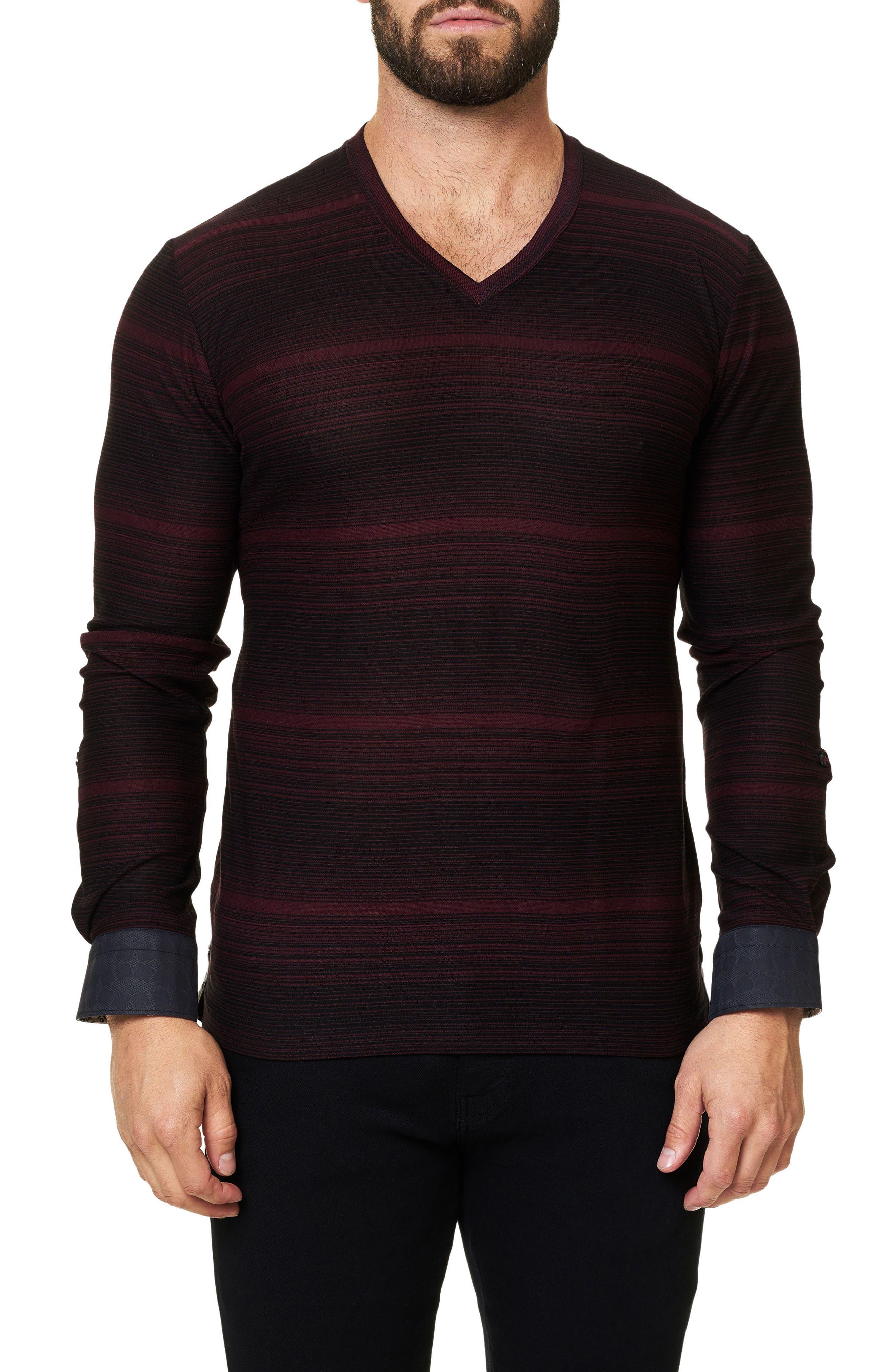 Stripe Long Sleeve V-Neck,                         Main,                         color, Solid Black