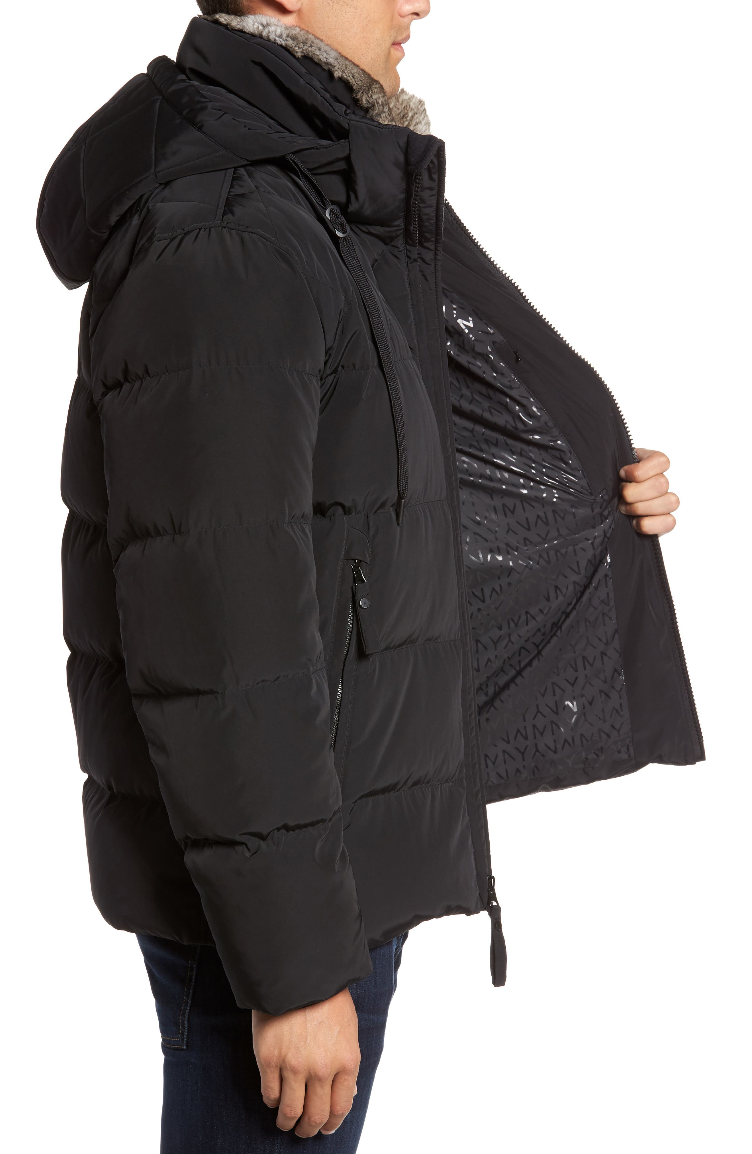 Navan Quilted Down Jacket with Genuine Rabbit Fur Trim,                             Alternate thumbnail 3, color,                             Black