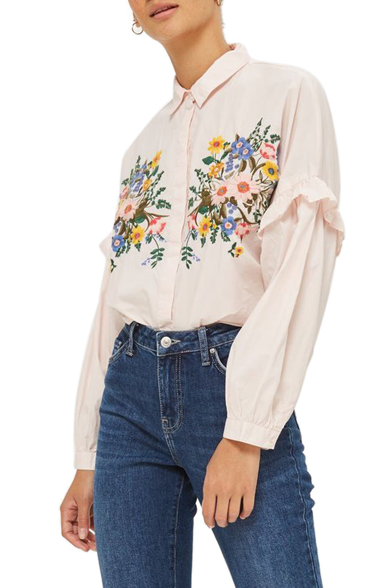 Forest Floral Embroidered Shirt,                         Main,                         color, Light Pink Multi
