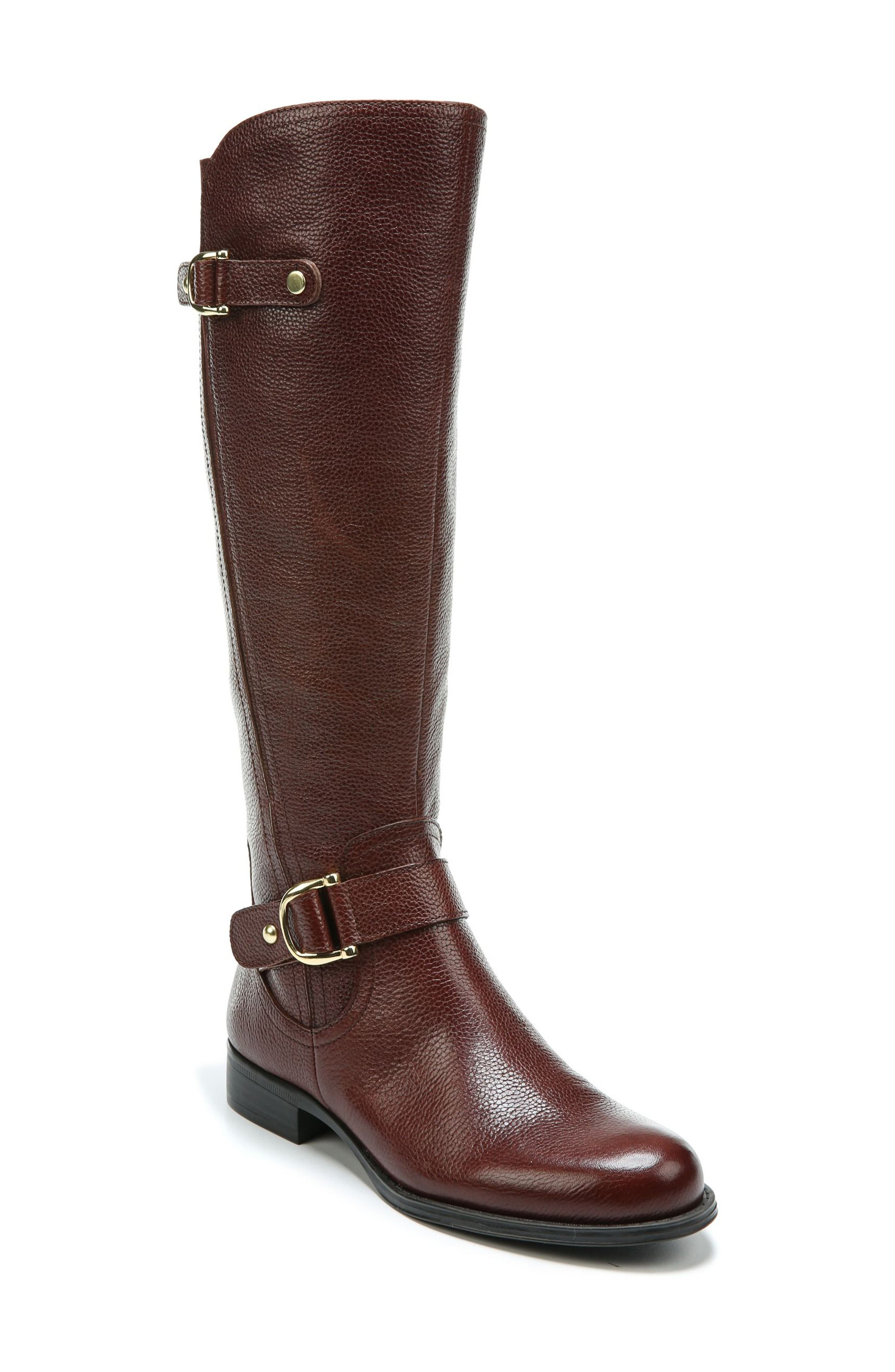 Jenelle Tall Boot,                         Main,                         color, Brown Leather