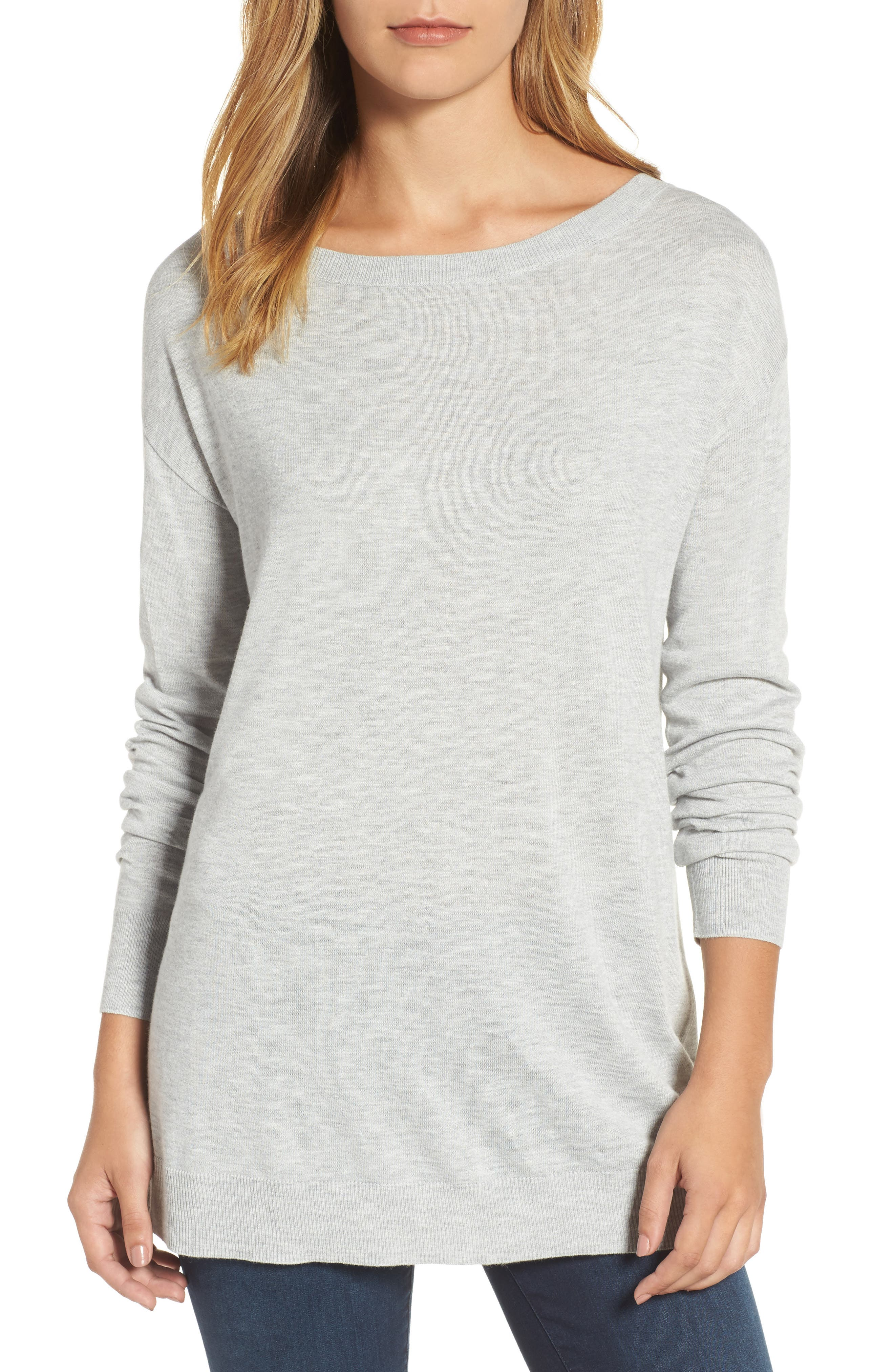 Boatneck Tunic Sweater,                             Main thumbnail 1, color,                             Heather Light Grey