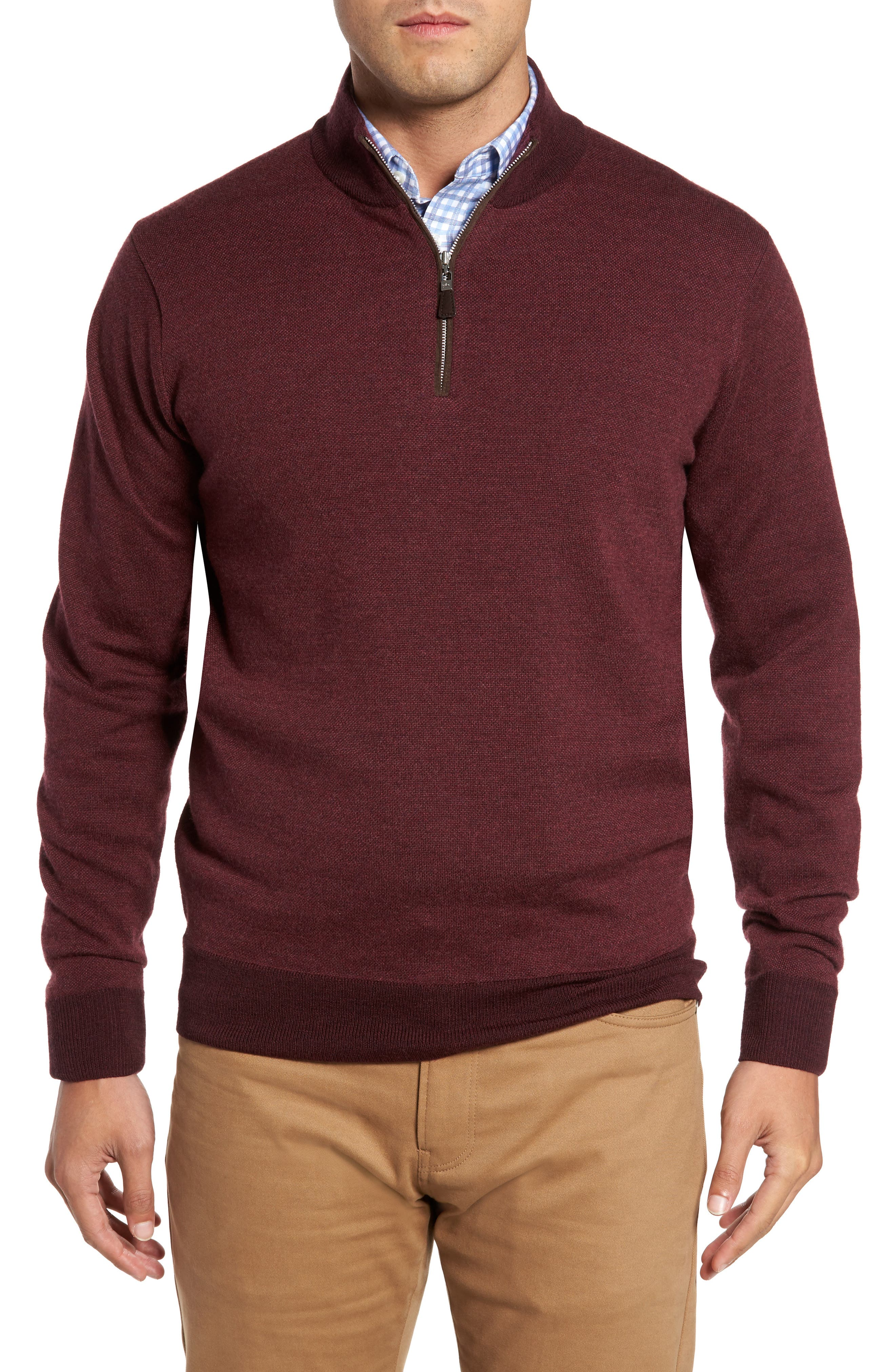 Quarter Zip Wool Pullover,                             Main thumbnail 1, color,                             French Wine