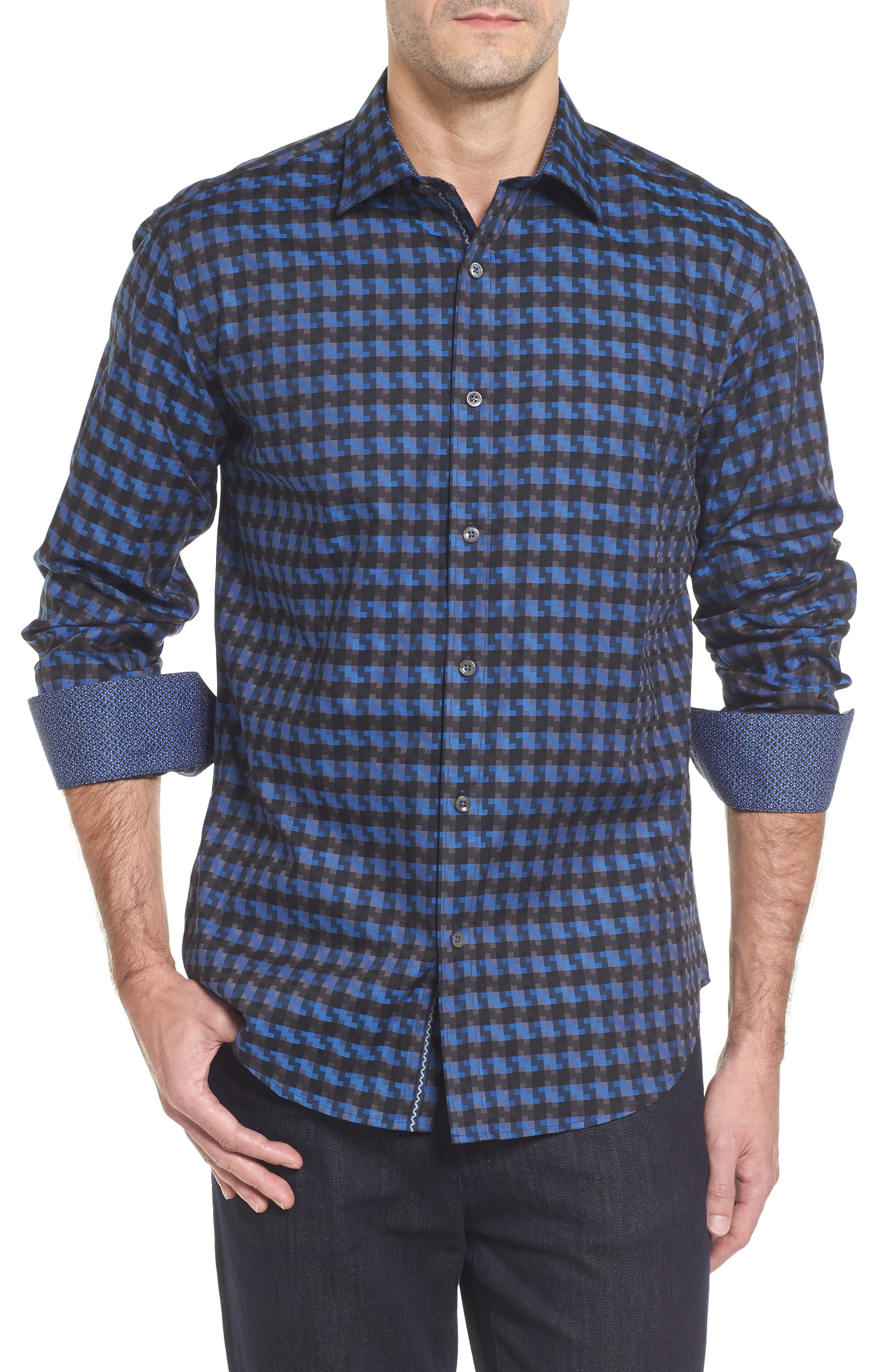 Shaped Fit Print Sport Shirt,                         Main,                         color, Graphite