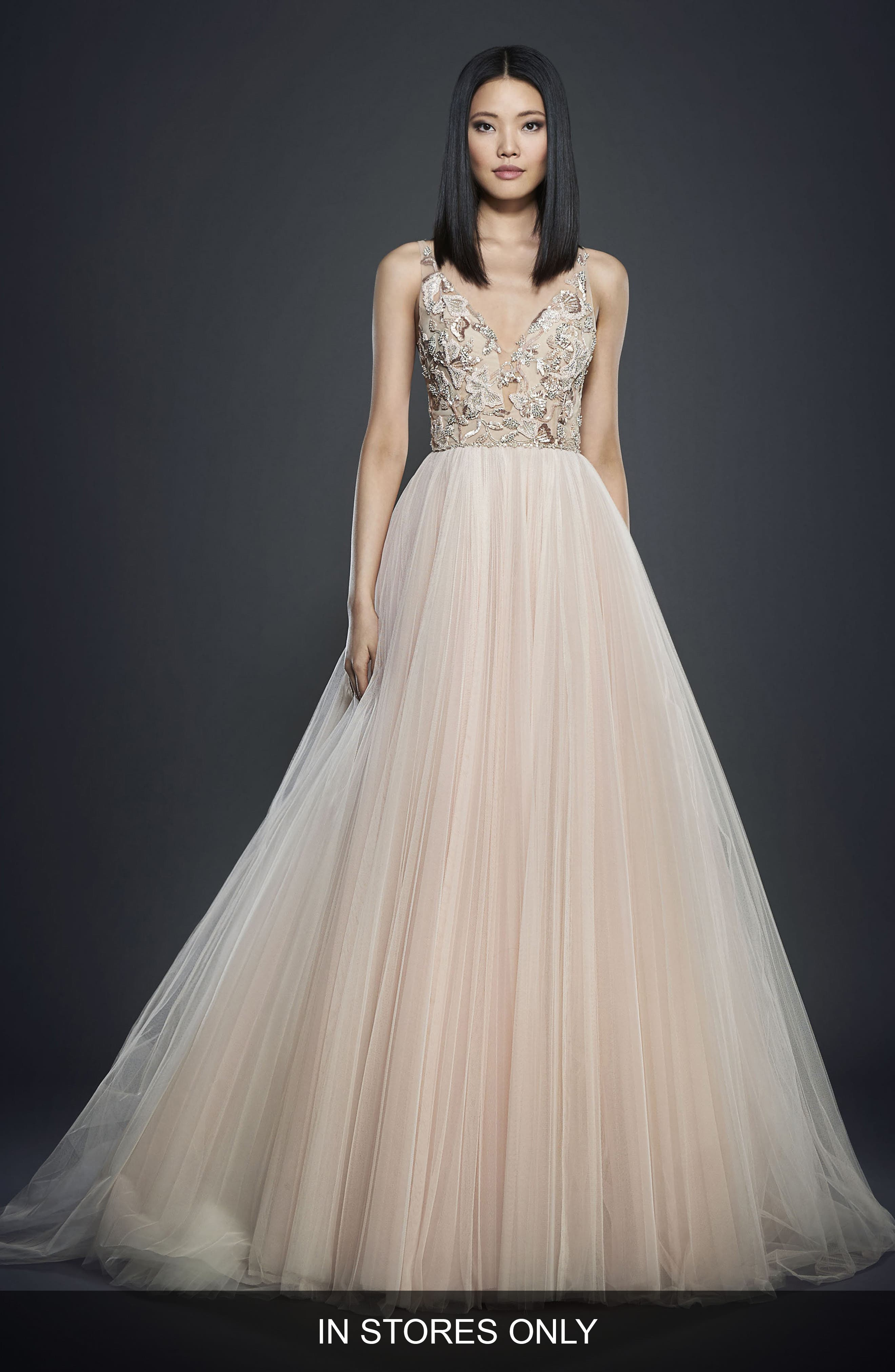 Alternate Image 2  - Lazaro Deep V-Neck Embroided Bodice Gown