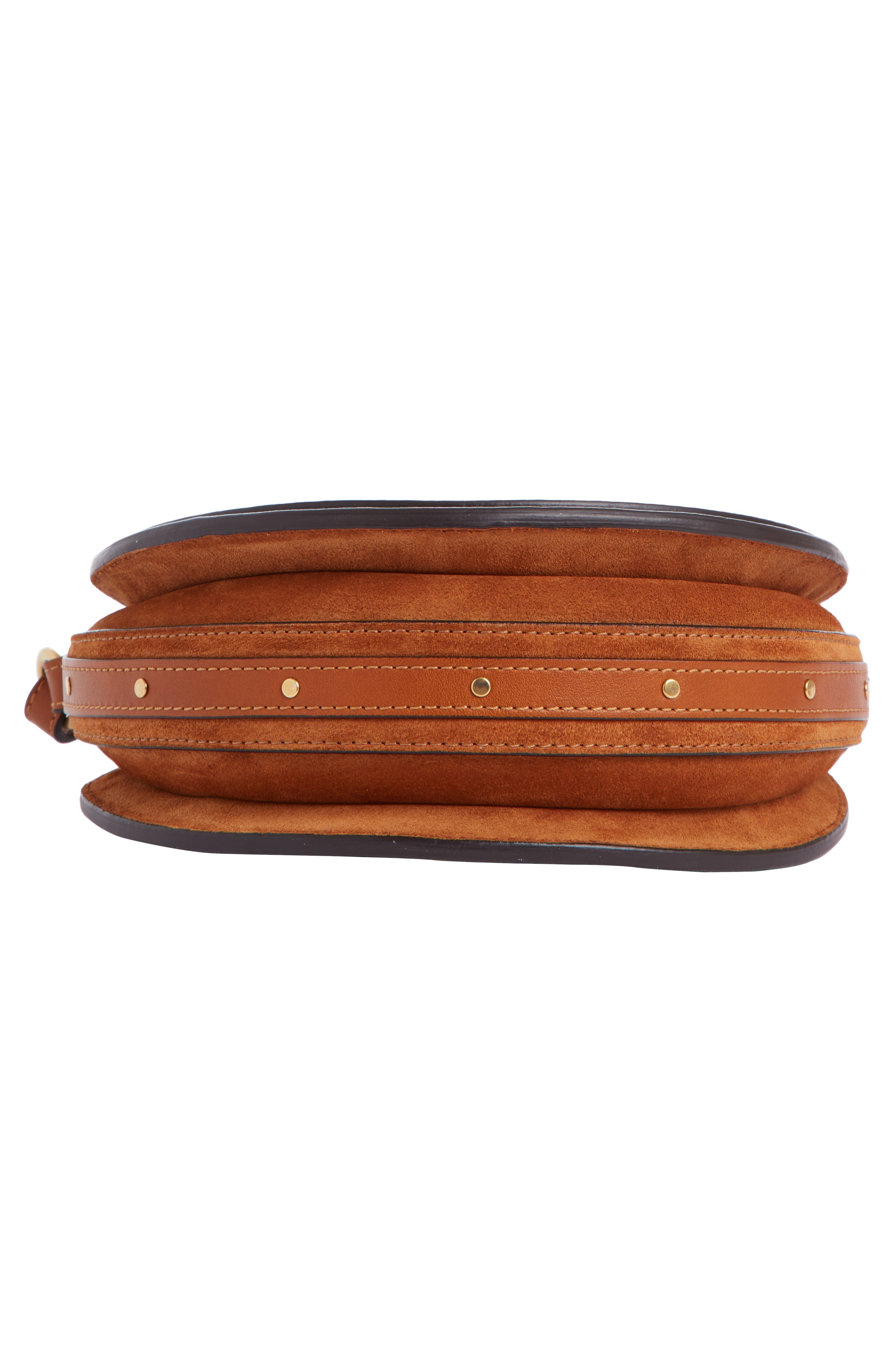Pixie Leather Crossbody Bag,                             Alternate thumbnail 4, color,                             Saffron Red