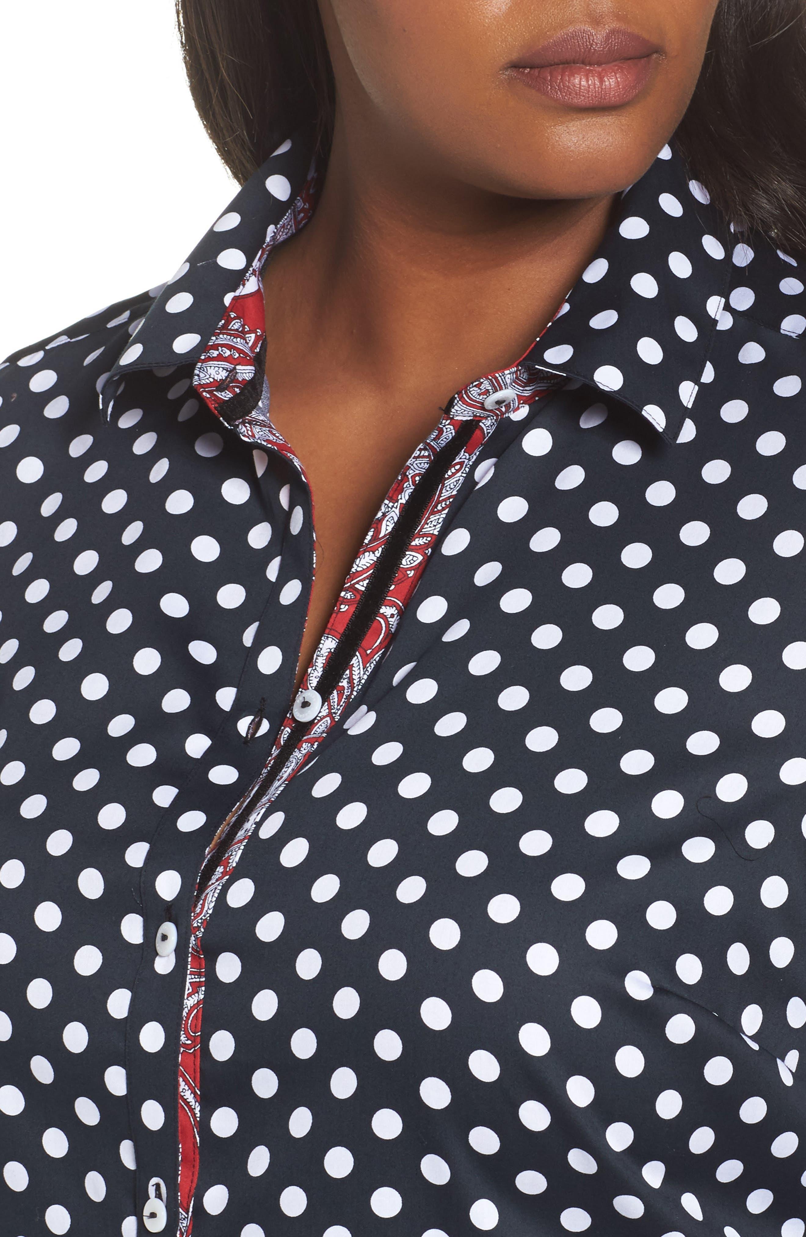 Ava Polka Dot Wrinkle-Free Shirt,                             Alternate thumbnail 4, color,                             Black