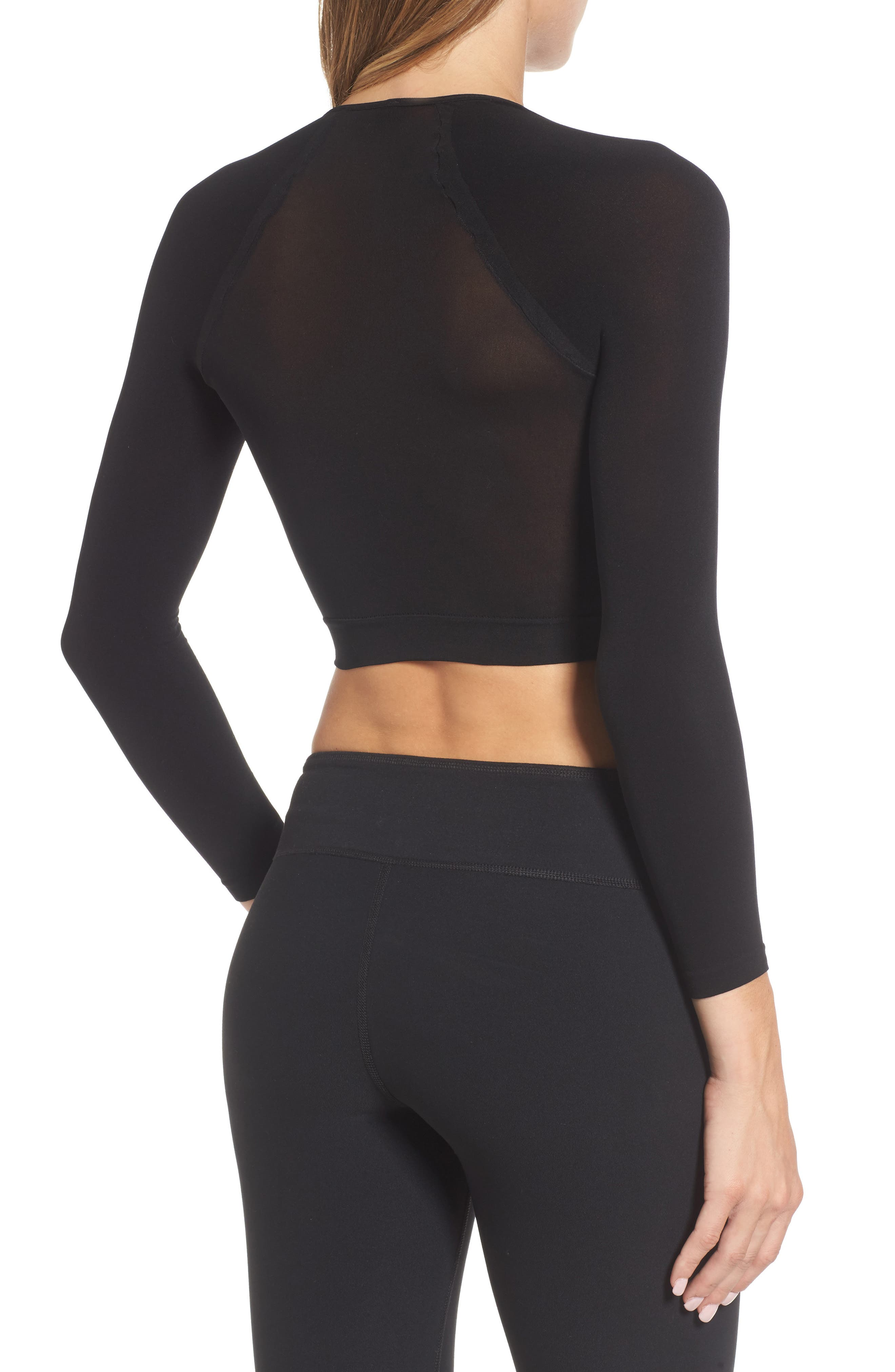 Arm Tights Crop Top,                             Alternate thumbnail 2, color,                             Very Black