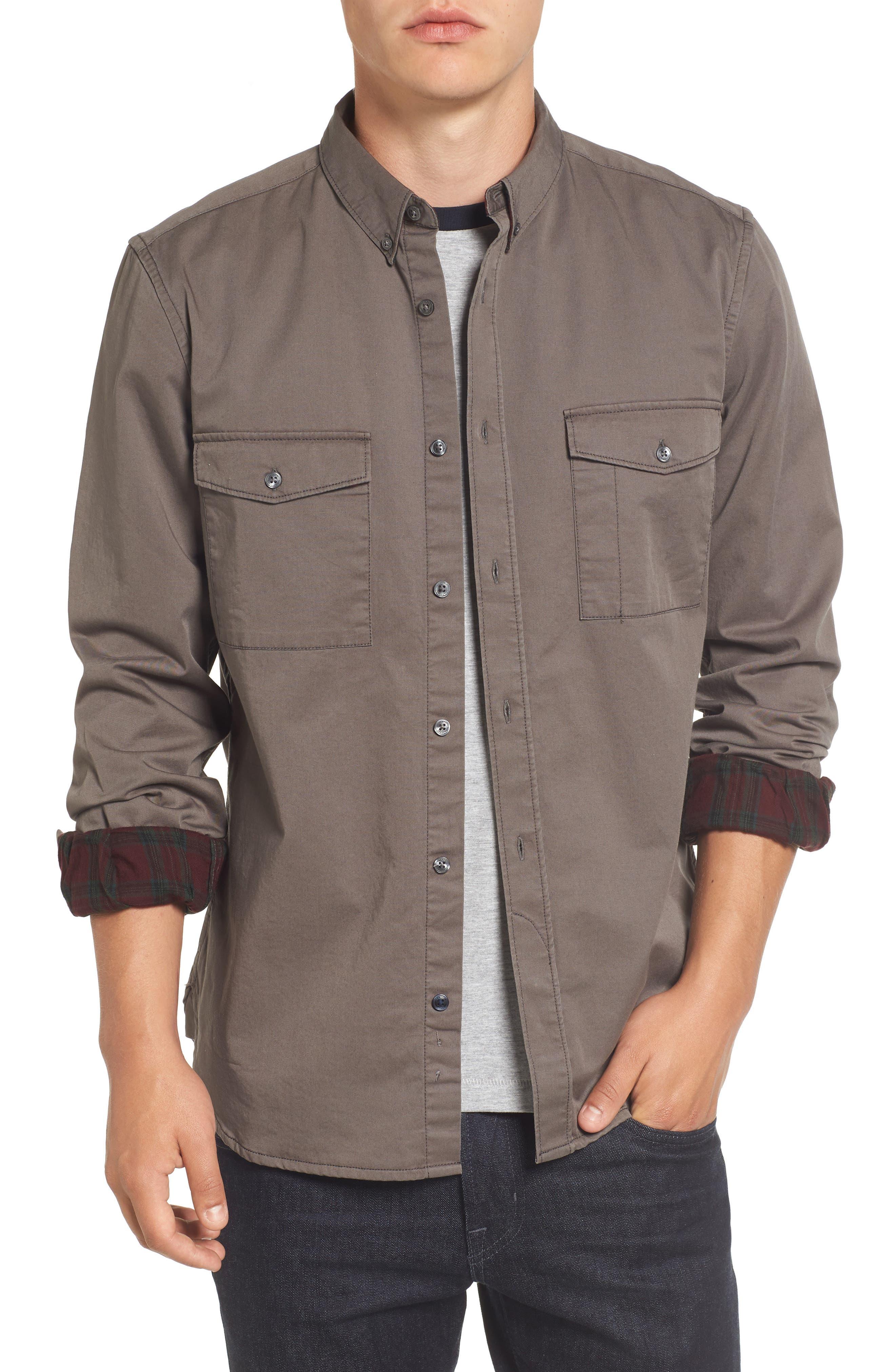 Regular Fit Twill Sport Shirt,                         Main,                         color, Black Olive/ Tartan