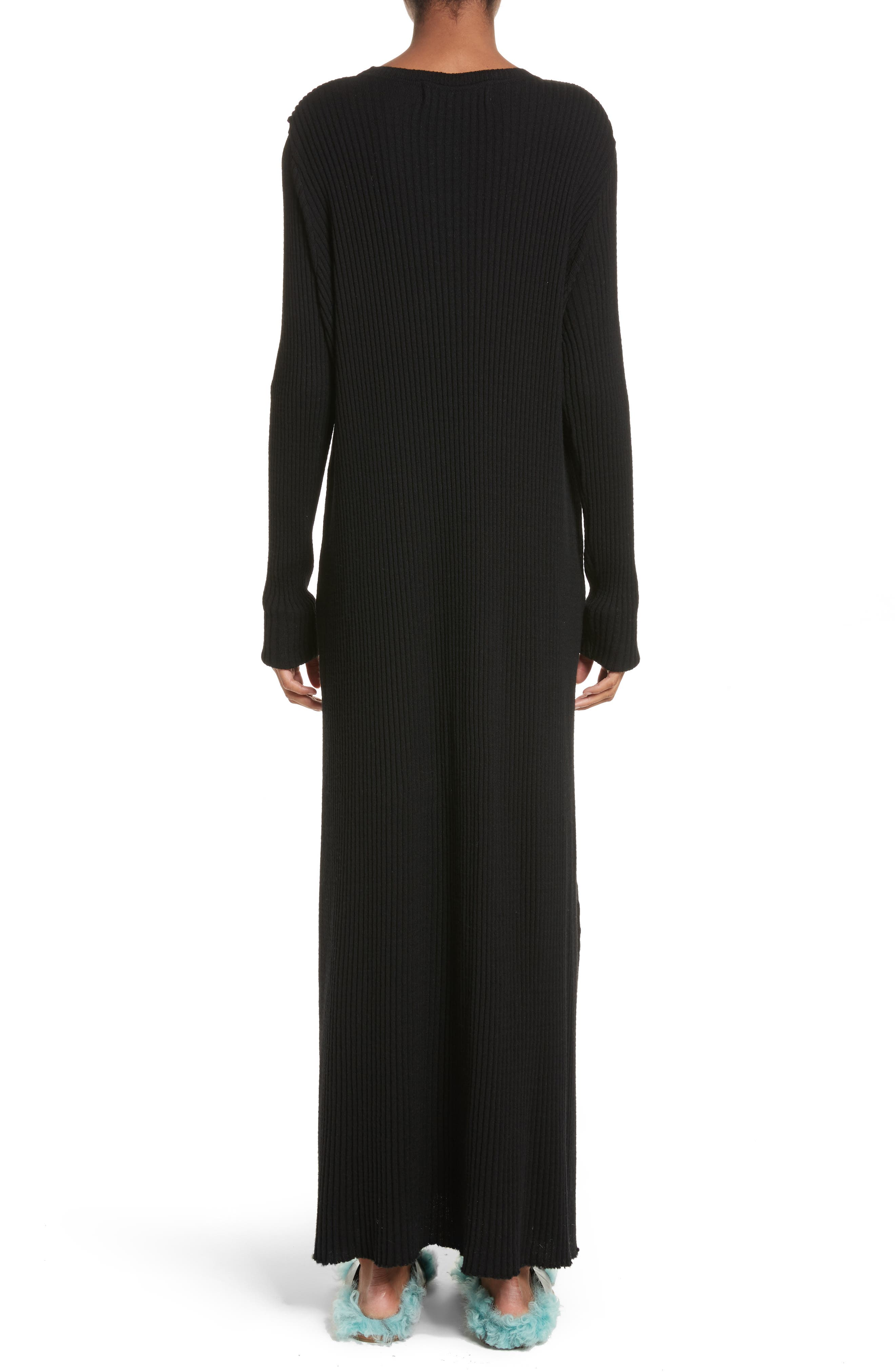 Alternate Image 2  - Marques'Almeida Ribbed Cold Shoulder Maxi Dress