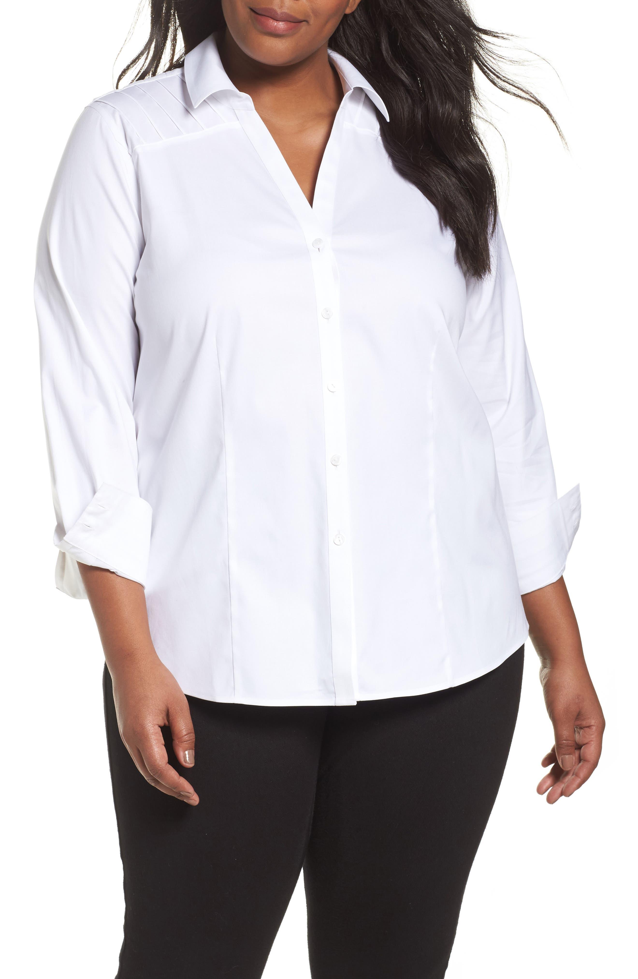 Main Image - Foxcroft Rita Solid Stretch Cotton Top (Plus Size)