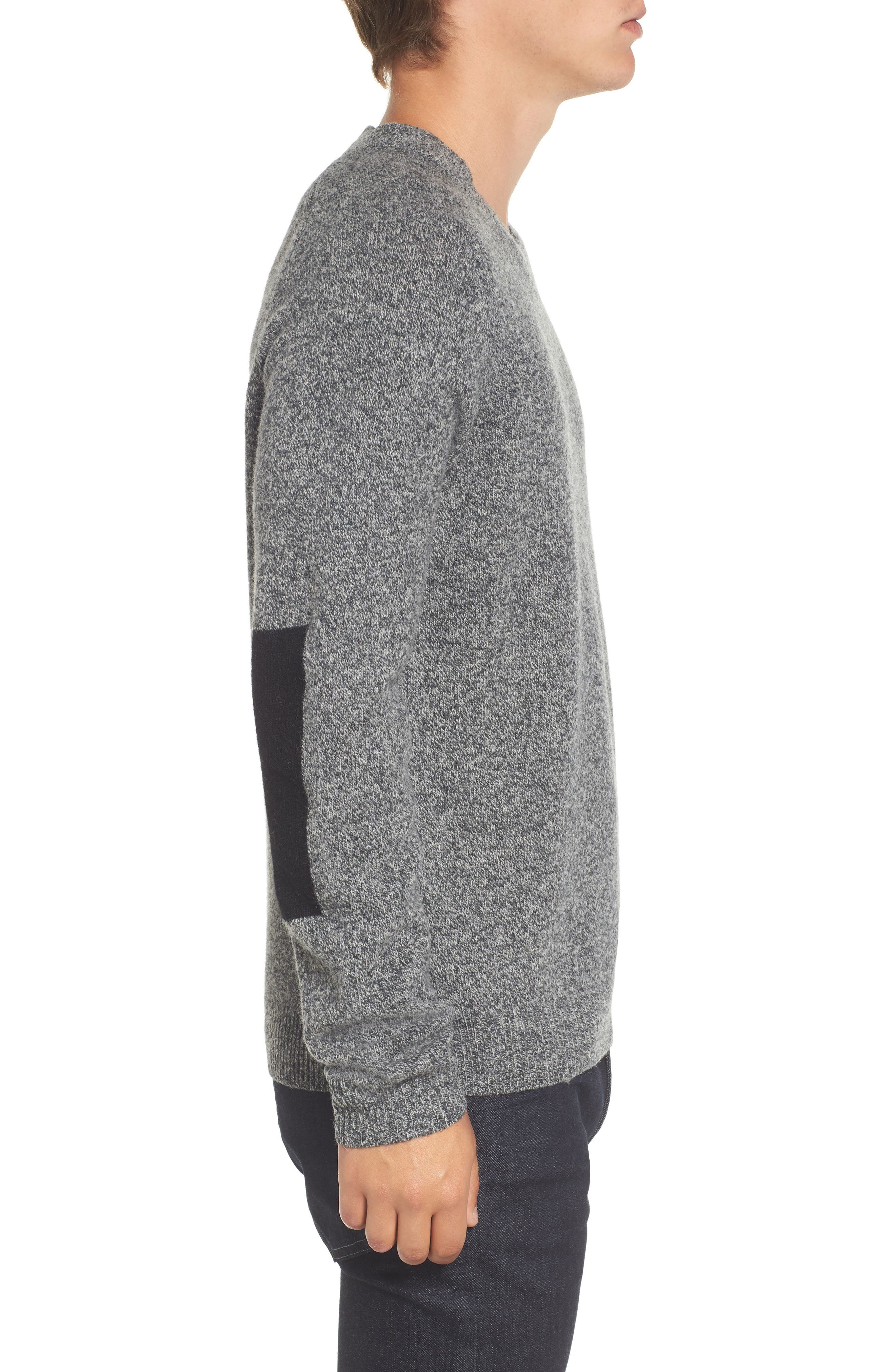 Elbow Patch Sweater,                             Alternate thumbnail 3, color,                             Charcoal Twist/ Black
