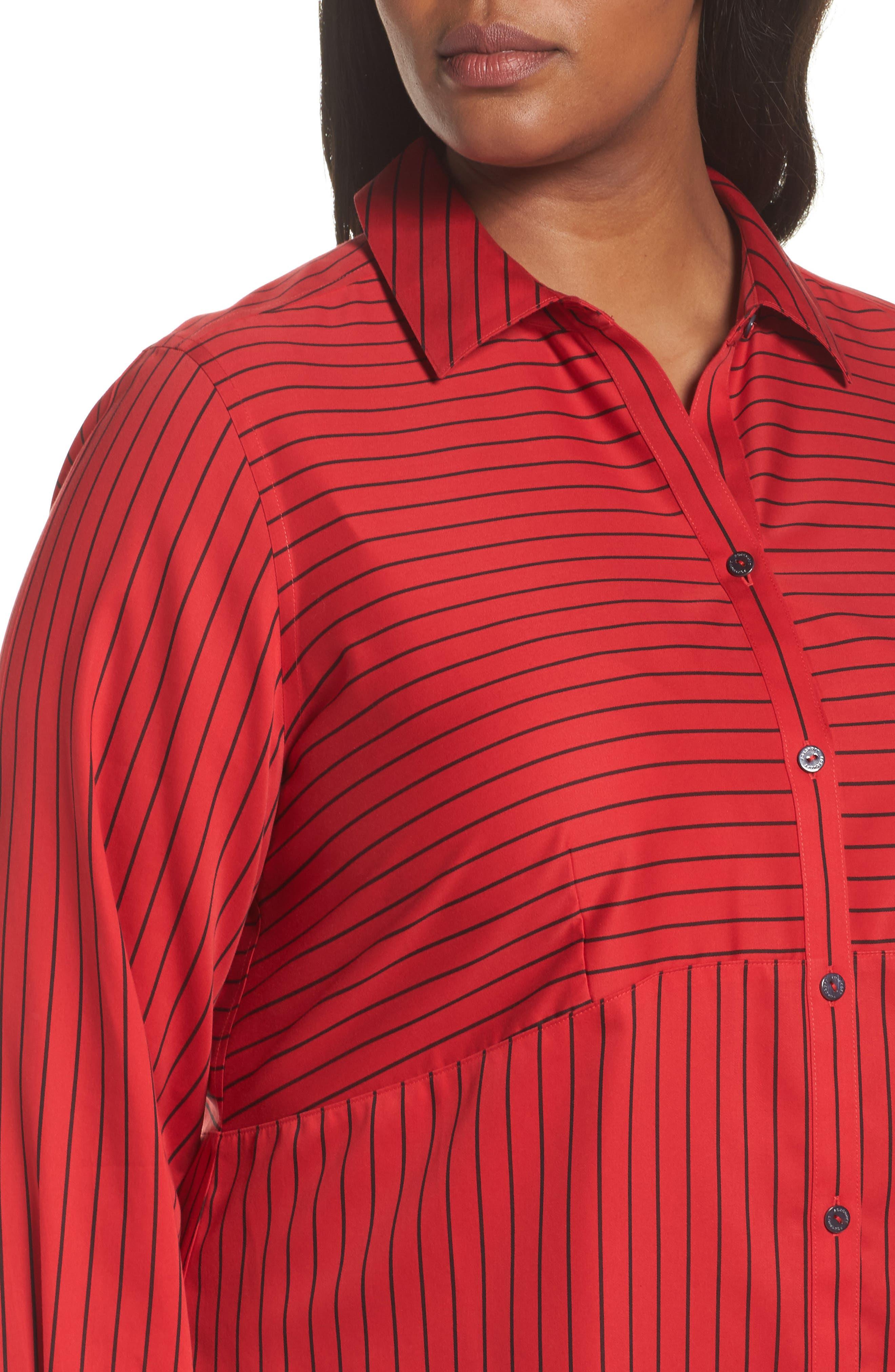 Alternate Image 4  - Foxcroft Gina Holiday Stripe Shirt (Plus Size)