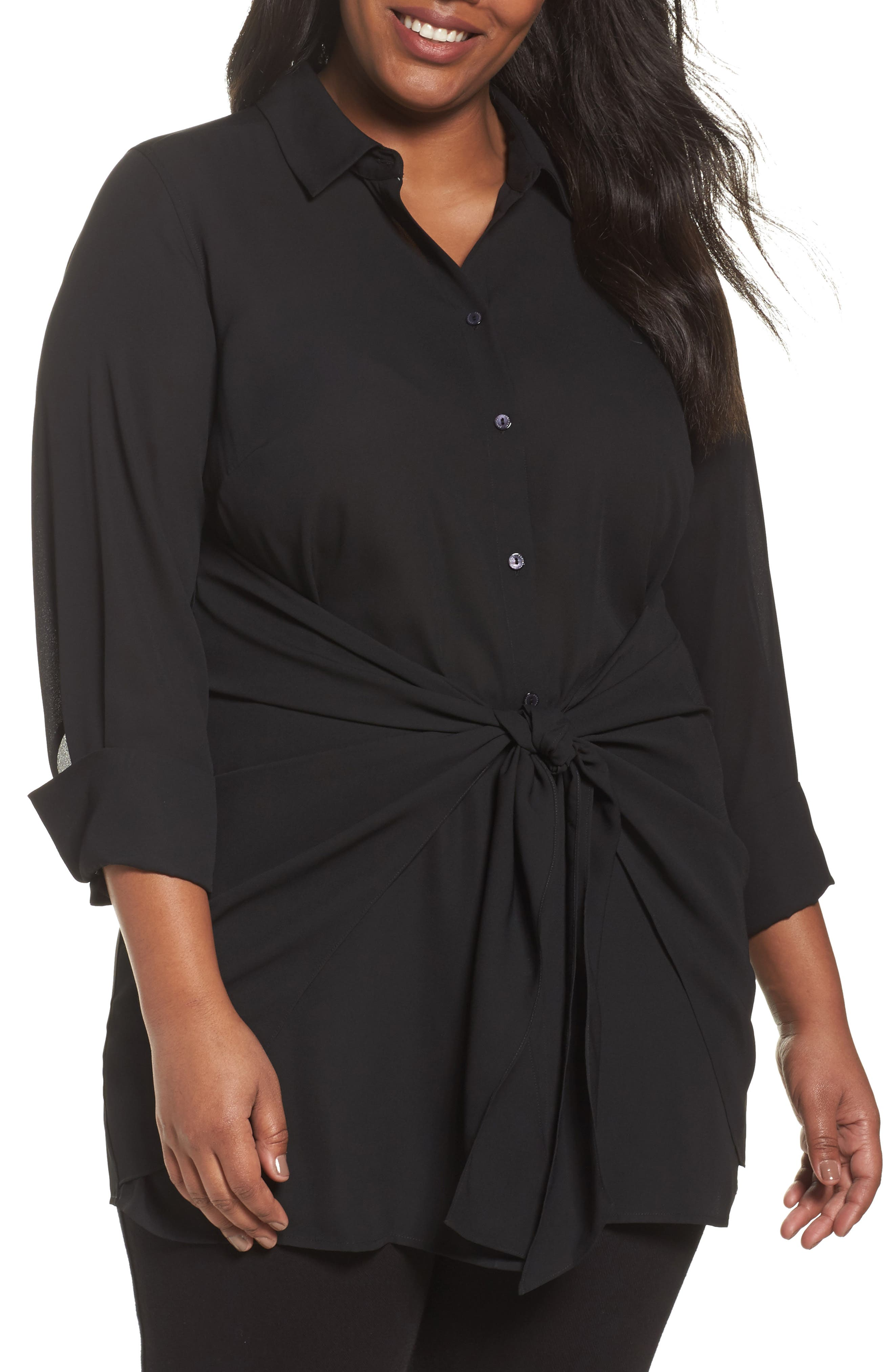 Alternate Image 1 Selected - Foxcroft Serena Knotted Crepe Tunic Blouse (Plus Size)