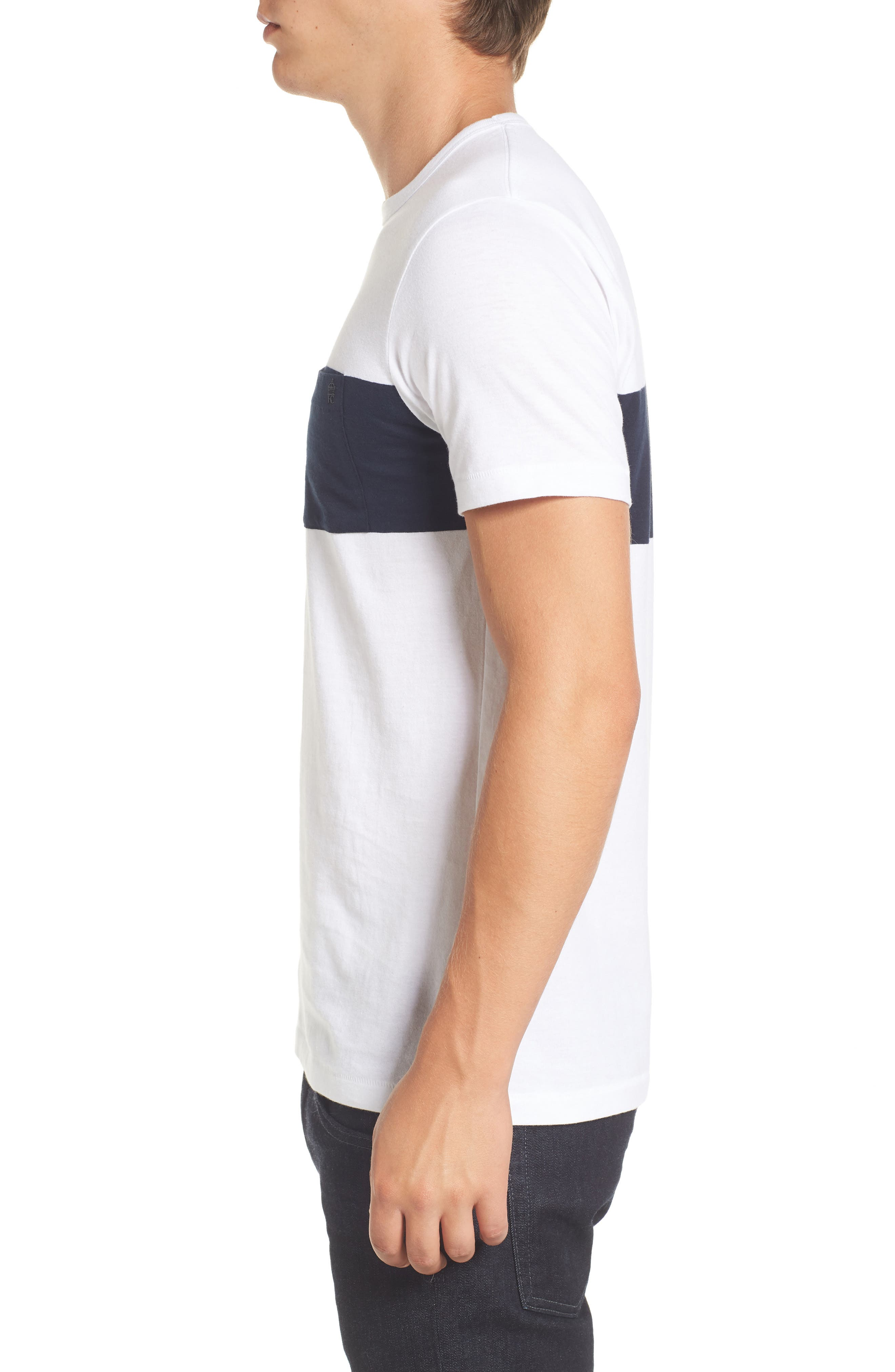 Colorblock Pocket T-Shirt,                             Alternate thumbnail 3, color,                             White/ Marine