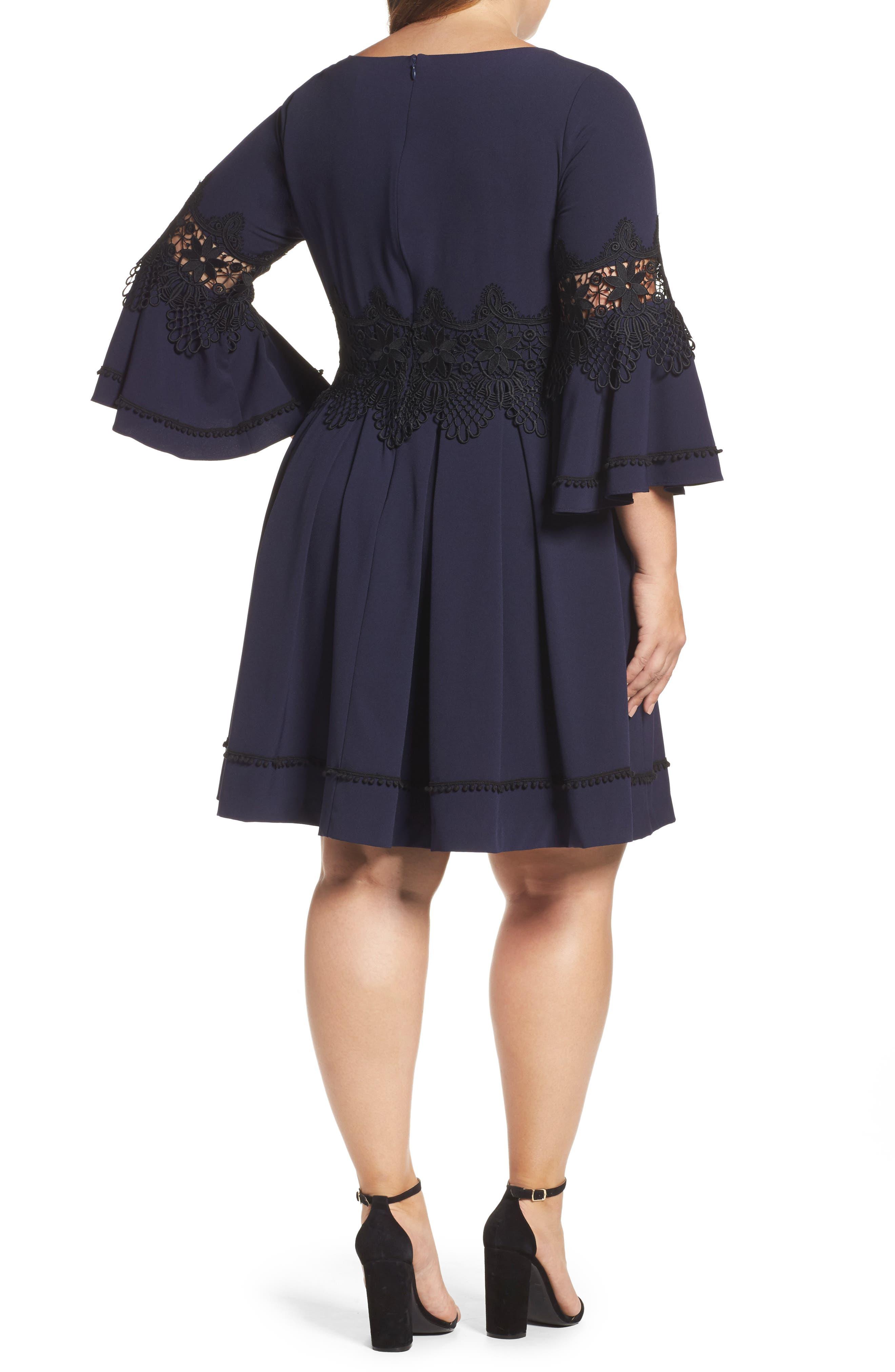 Alternate Image 2  - Eliza J Lace Appliqué A-Line Dress (Plus Size)