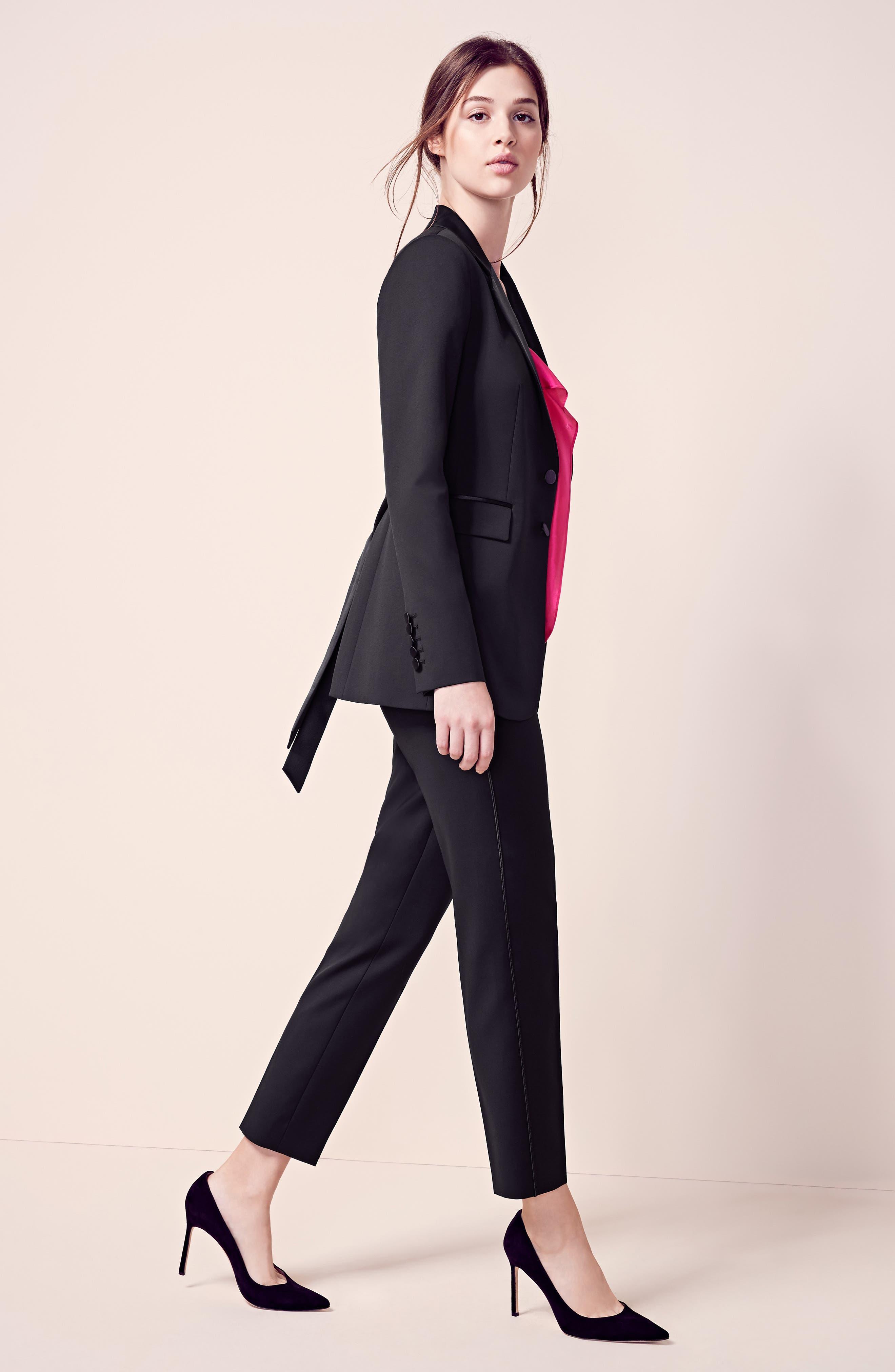Tuxedo Detail Wool Suit Jacket,                             Alternate thumbnail 2, color,                             Black