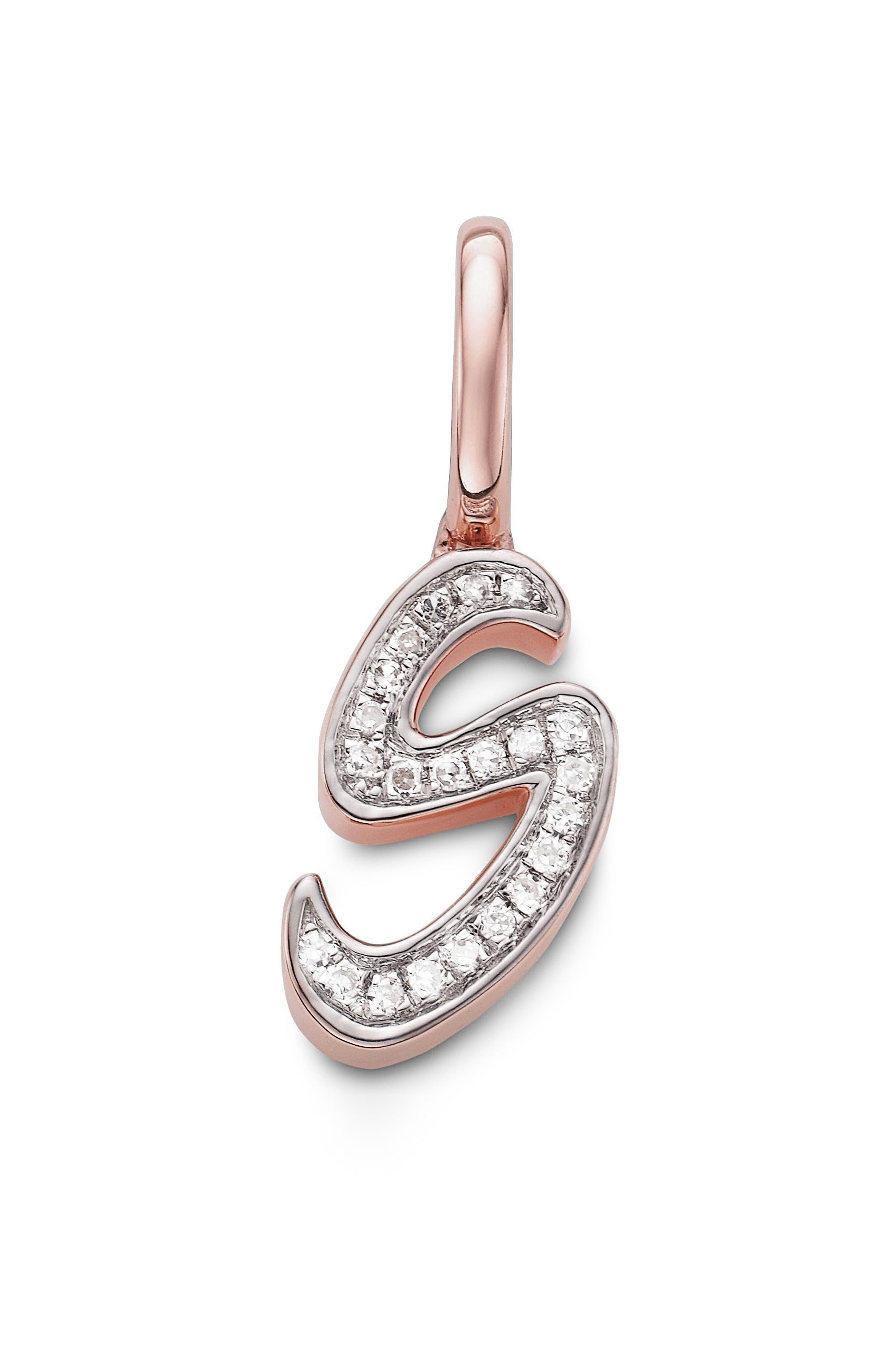 Diamond Initial Pendant,                             Main thumbnail 1, color,                             Rose Gold/ Diamond- S