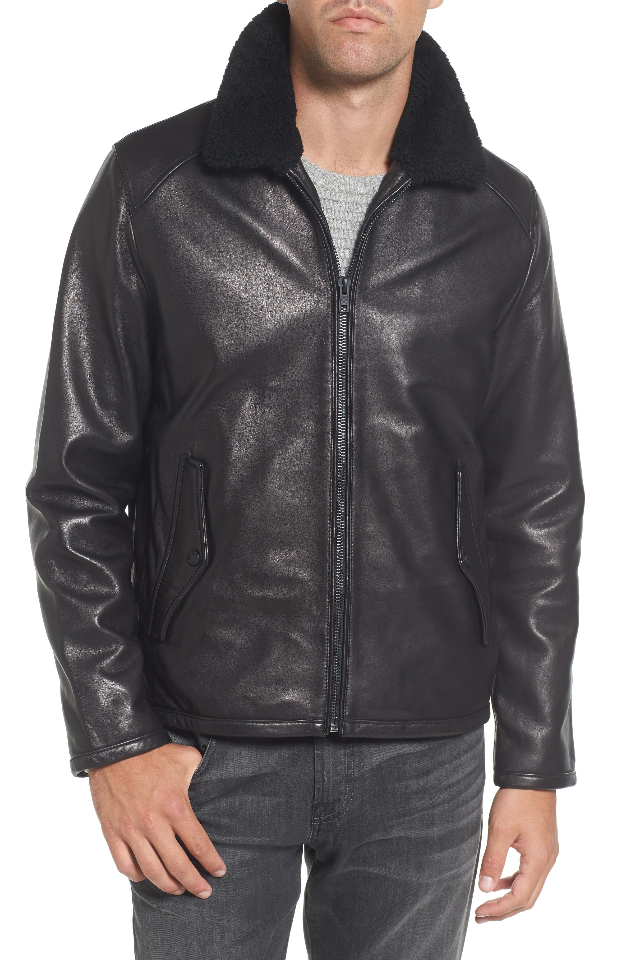 Genuine Shearling Leather Jacket,                             Main thumbnail 1, color,                             Black