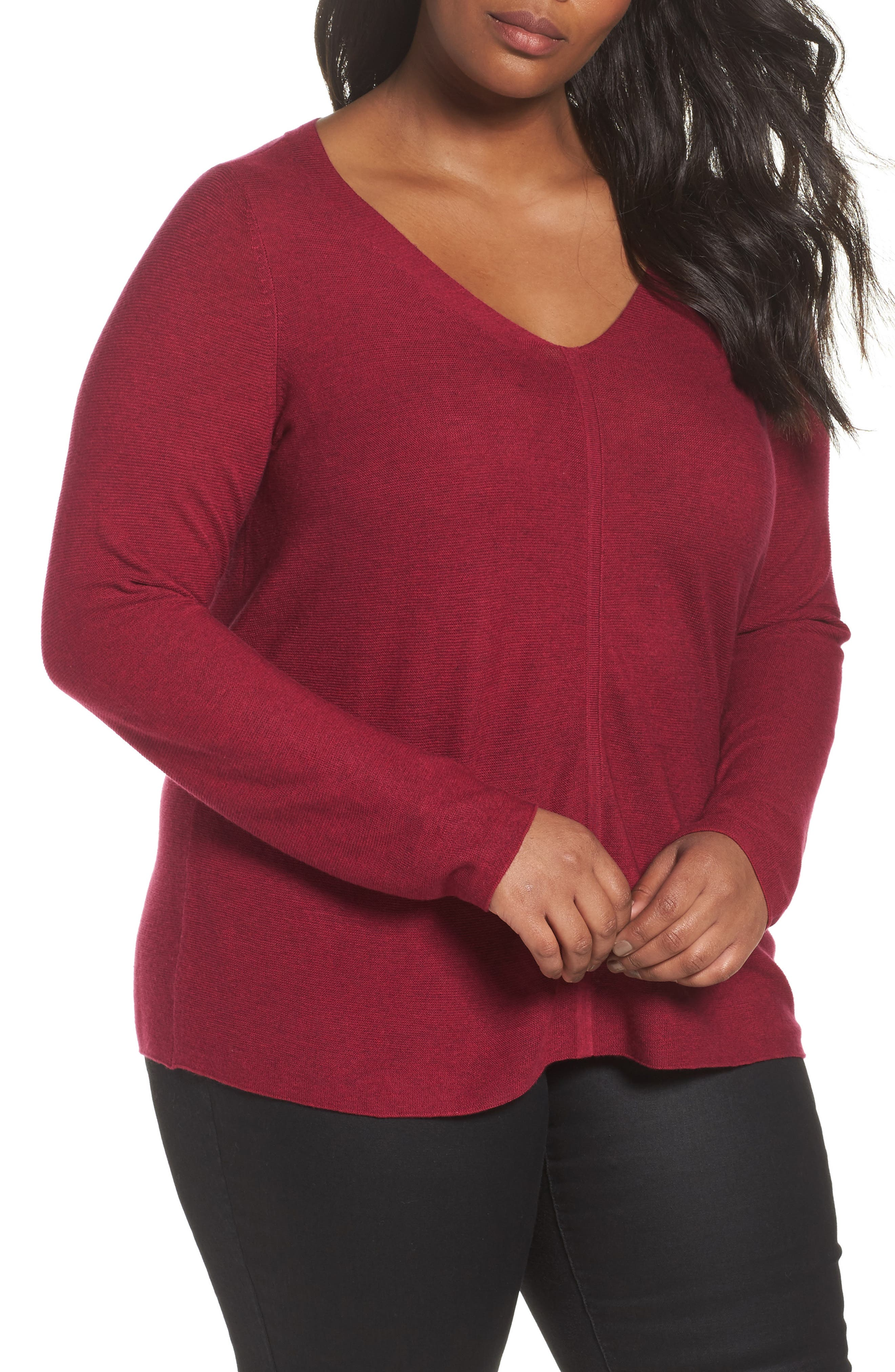 V-Neck Sweater,                         Main,                         color, Hibiscus