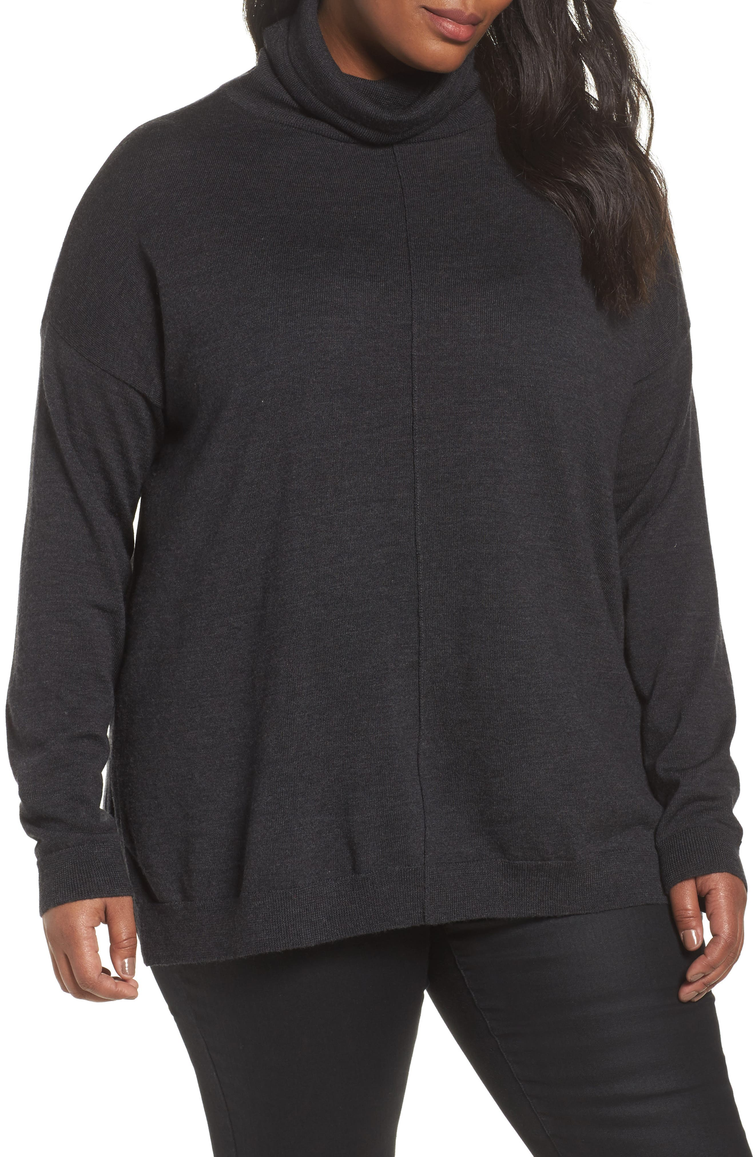 Merino Wool Turtleneck Sweater,                         Main,                         color, Charcoal