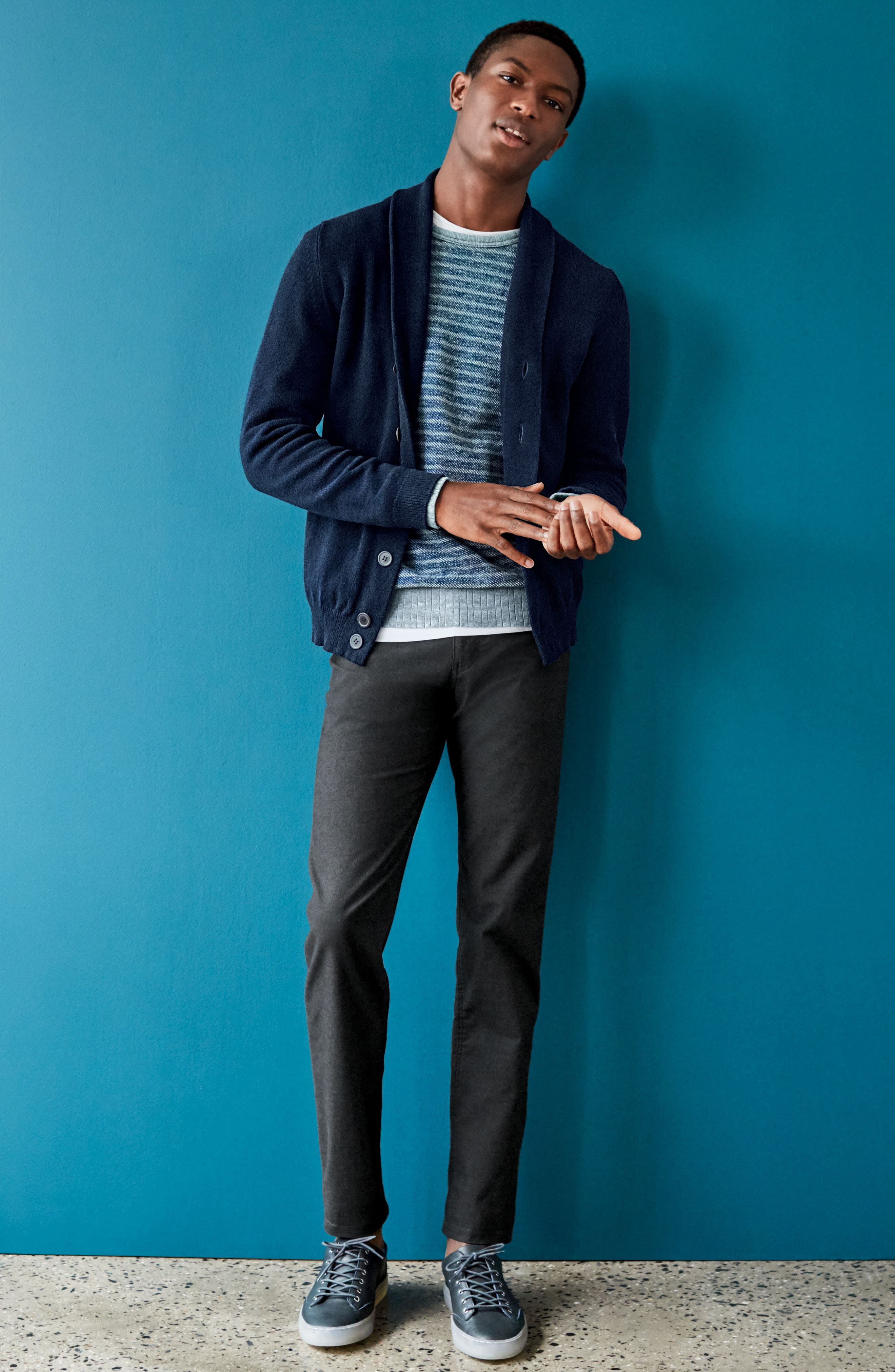 Slim Fit Merino Wool & Cashmere Cardigan,                             Alternate thumbnail 8, color,