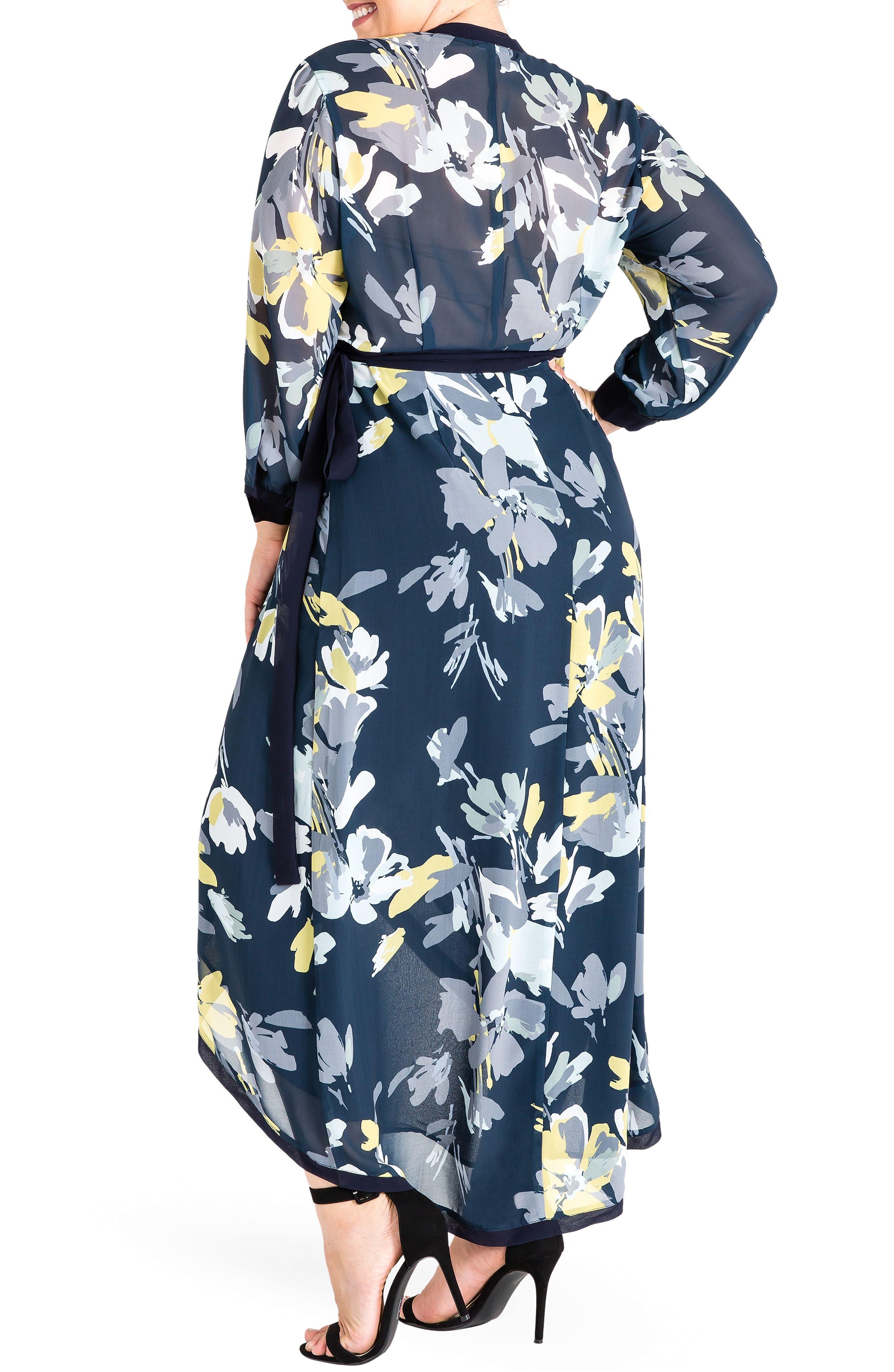 Elle High/Low Wrap Dress,                             Alternate thumbnail 2, color,                             Navy Petals