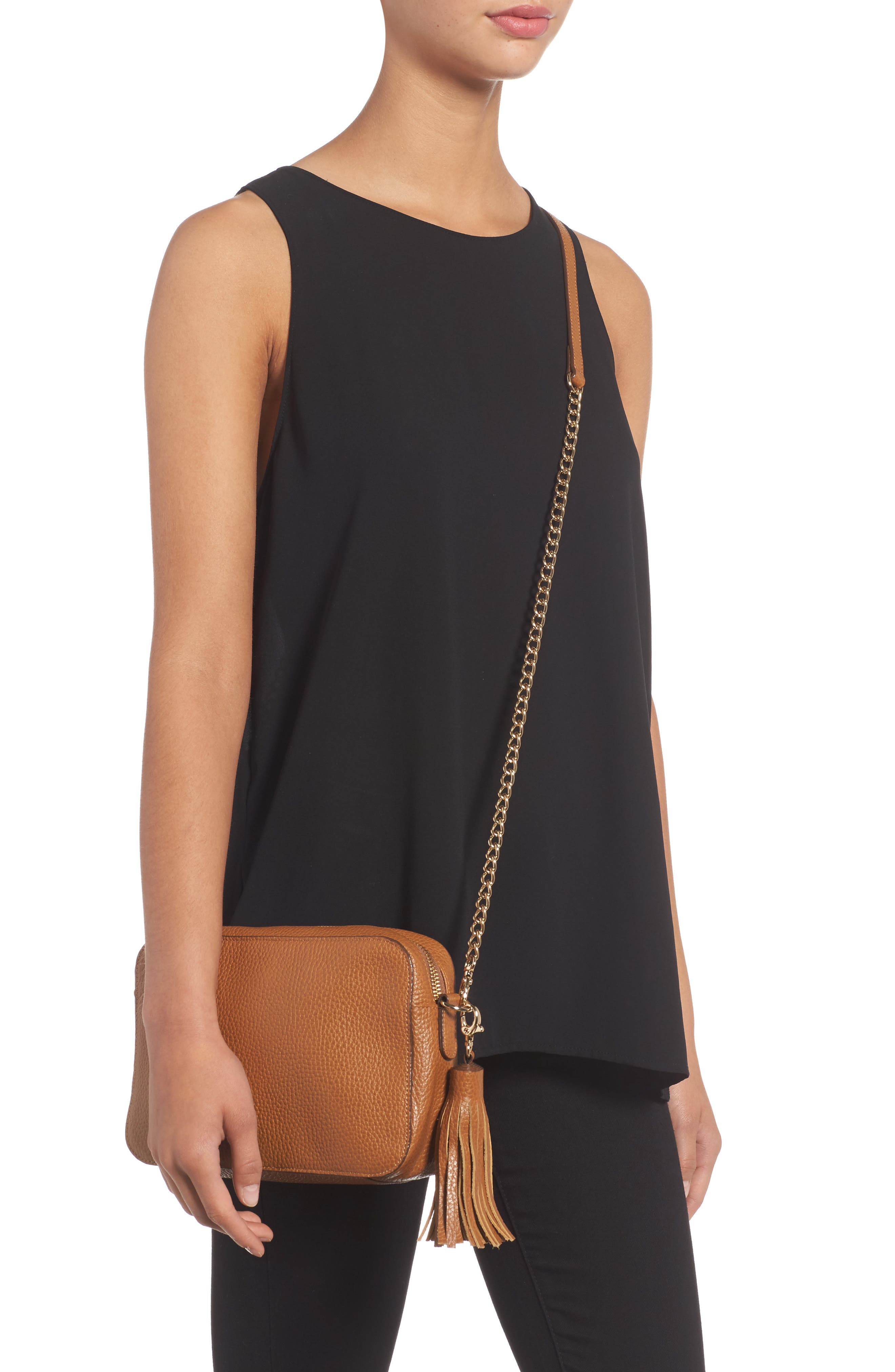 Ella Tassel Leather Crossbody Bag,                             Alternate thumbnail 2, color,                             Tan Spice