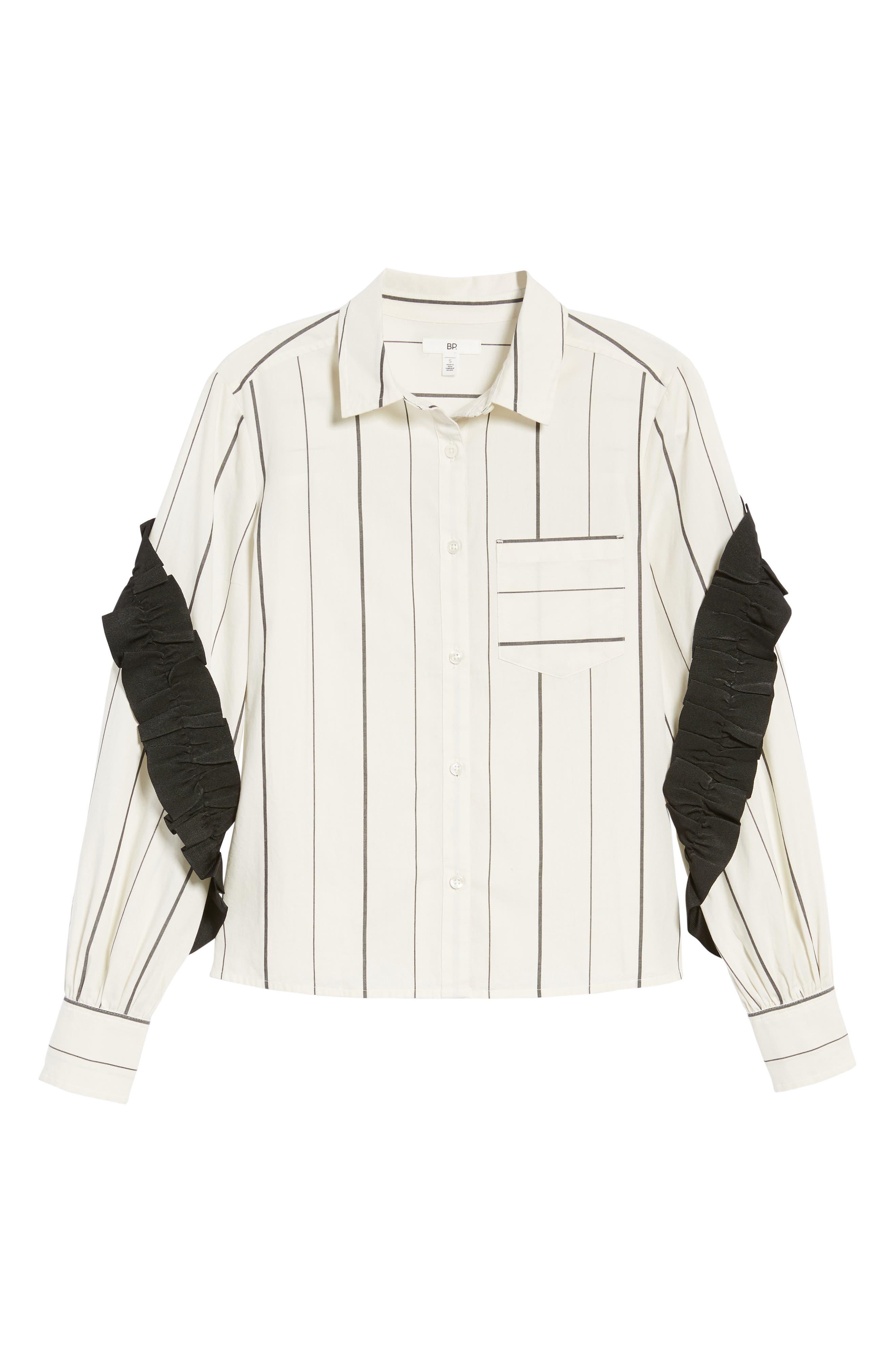 Grosgrain Ruffle Stripe Shirt,                             Alternate thumbnail 6, color,                             Ivory Egret Finn Stripe