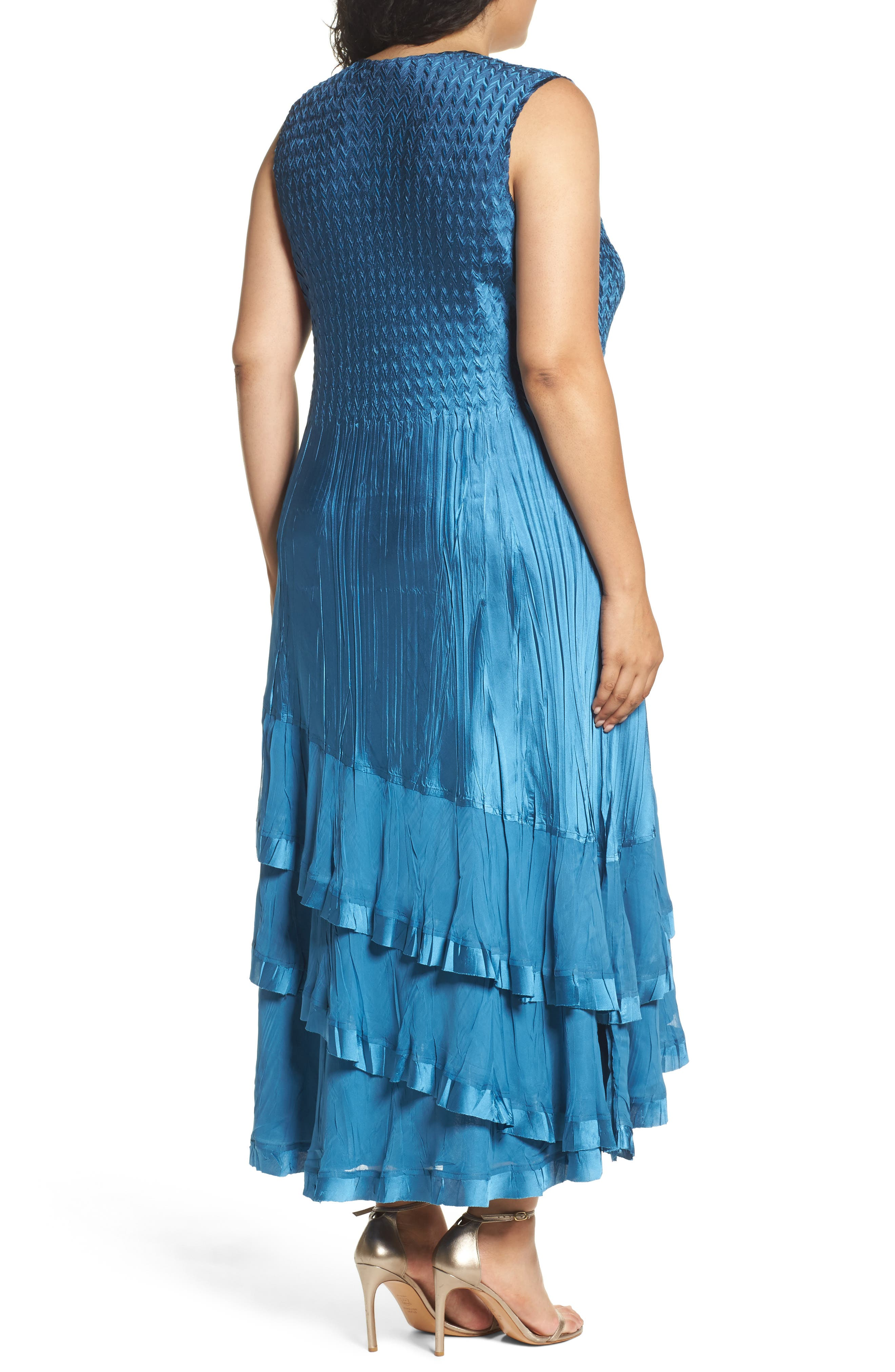 Tiered Dress with Jacket,                             Alternate thumbnail 4, color,                             Blue Dusk