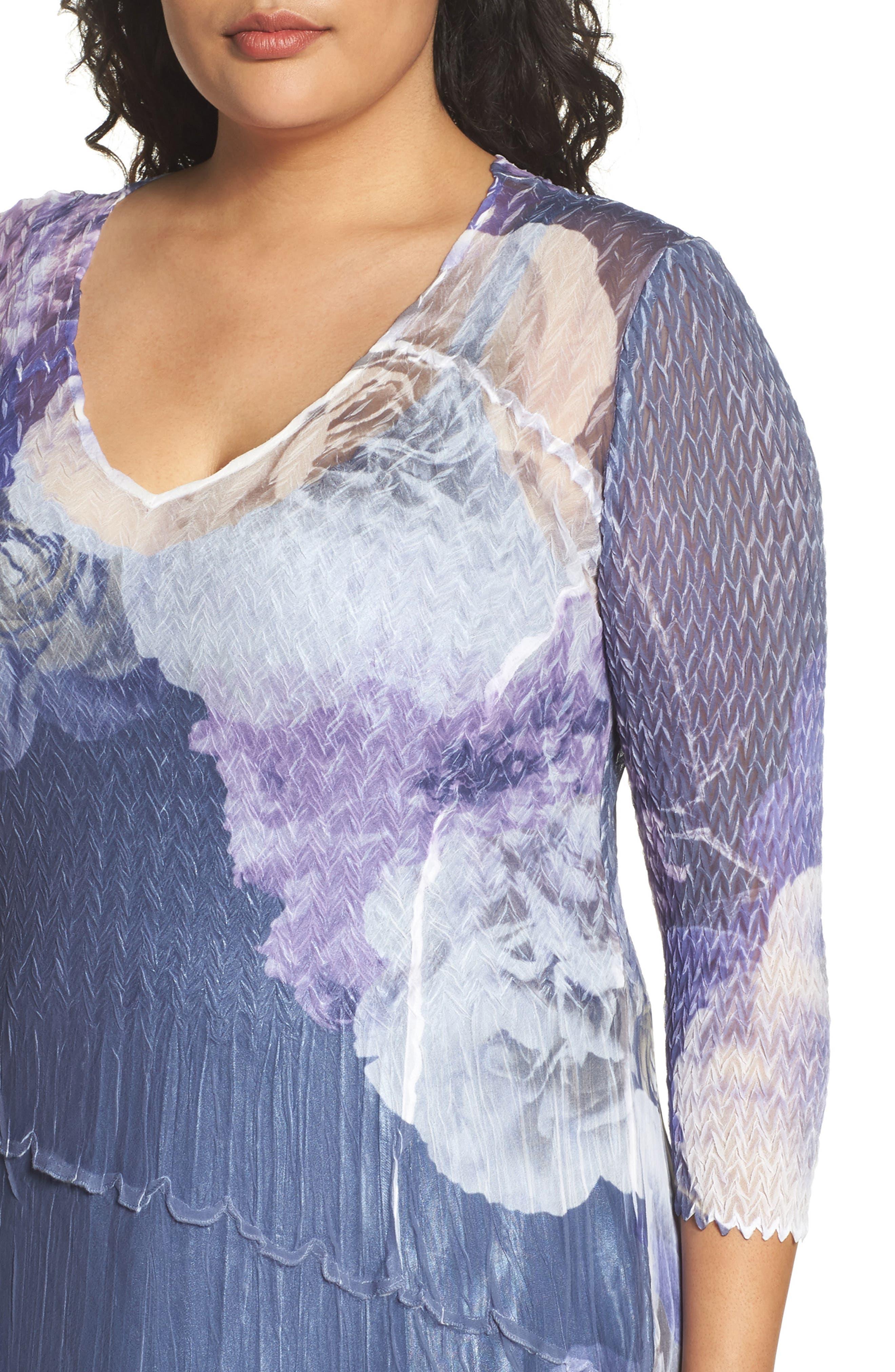 Chiffon Handkerchief Hem Dress,                             Alternate thumbnail 4, color,                             Indigo Shadow