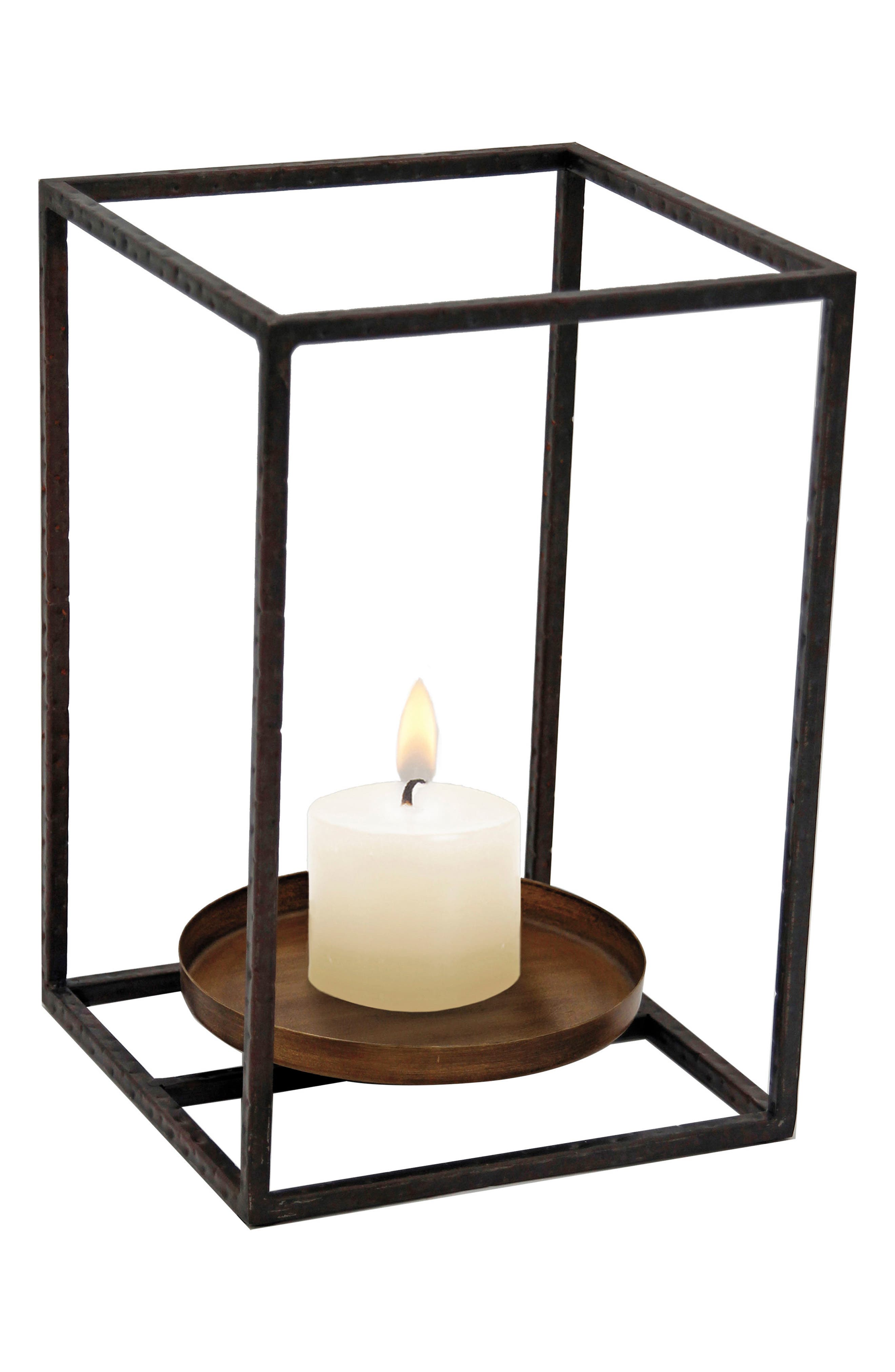 Large Cube Pillar Candle Holder,                         Main,                         color, Metal