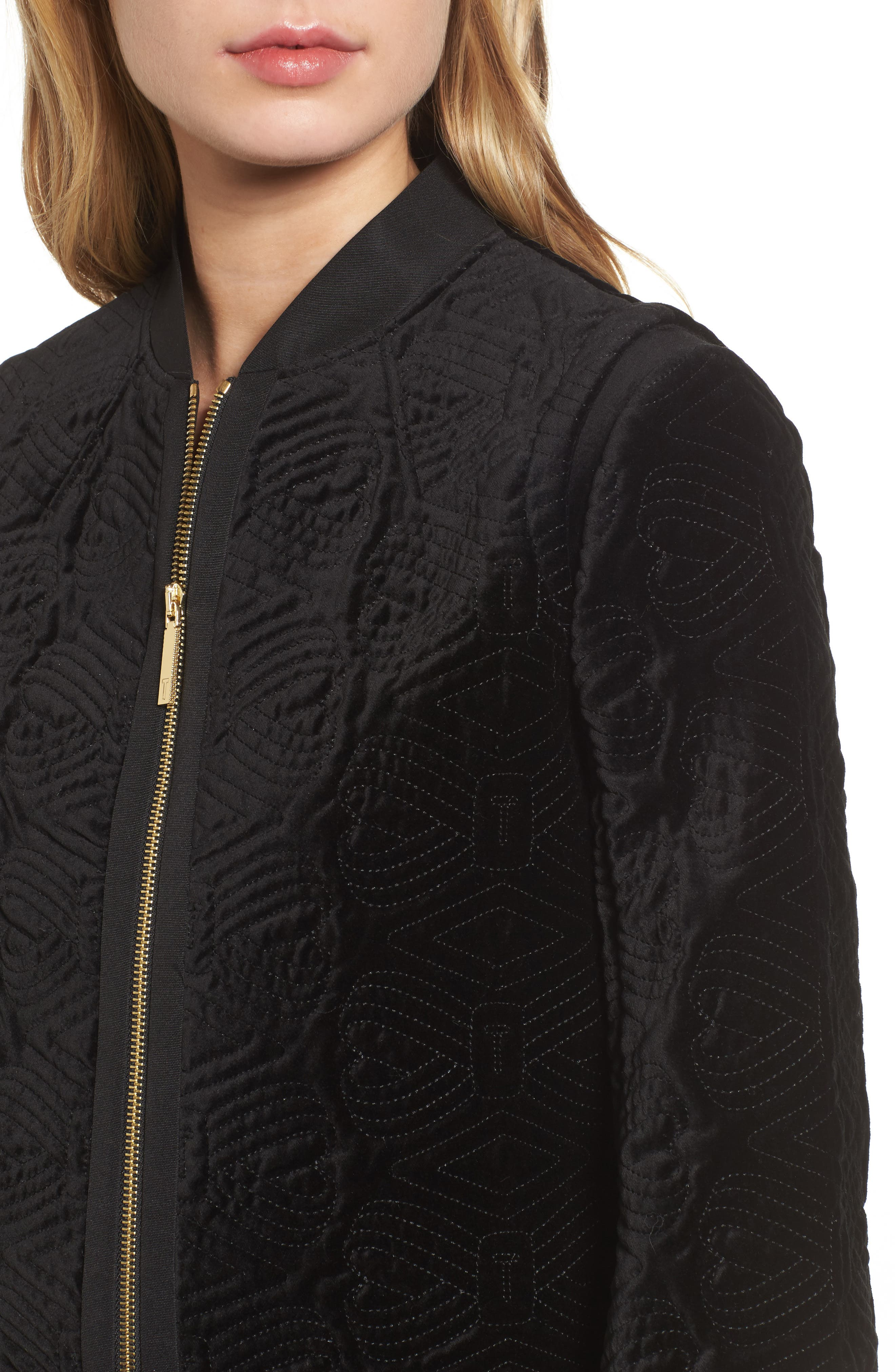 Alternate Image 4  - Ted Baker London Quilted Velvet Bomber Jacket