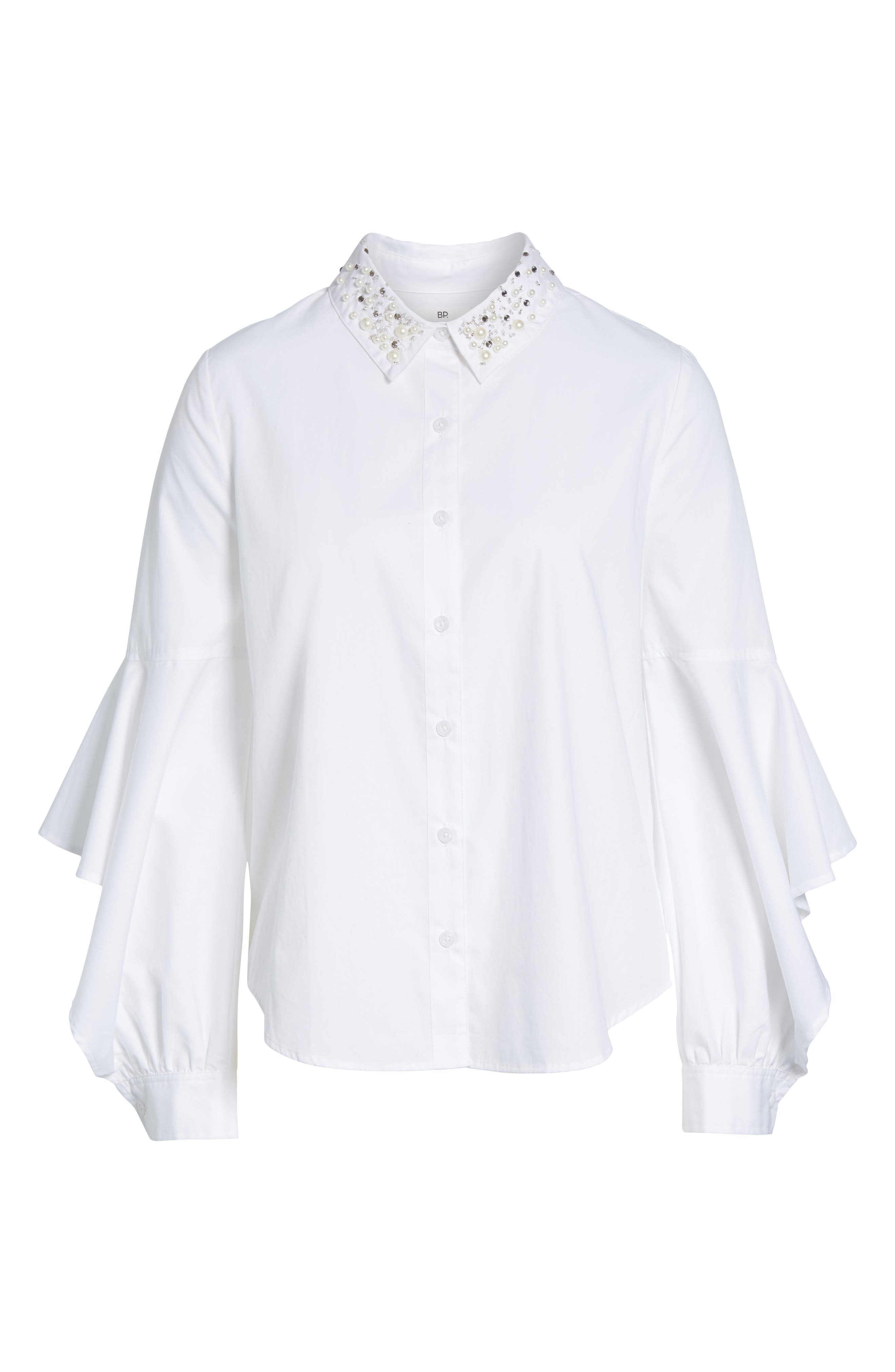 Embellished Ruffle Sleeve Top,                             Alternate thumbnail 6, color,                             White
