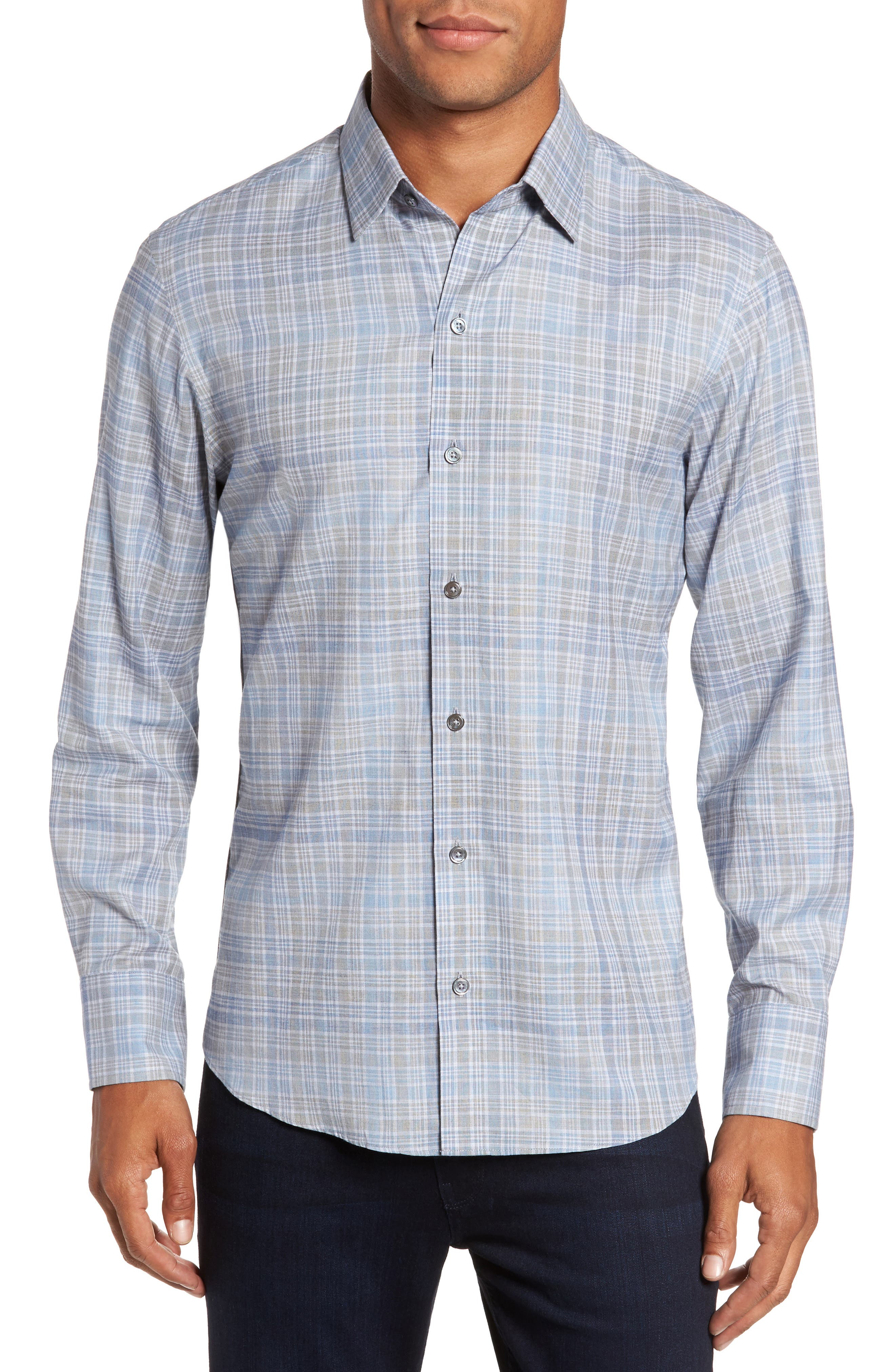 Johannes Slim Fit Plaid Sport Shirt,                         Main,                         color, Light Grey