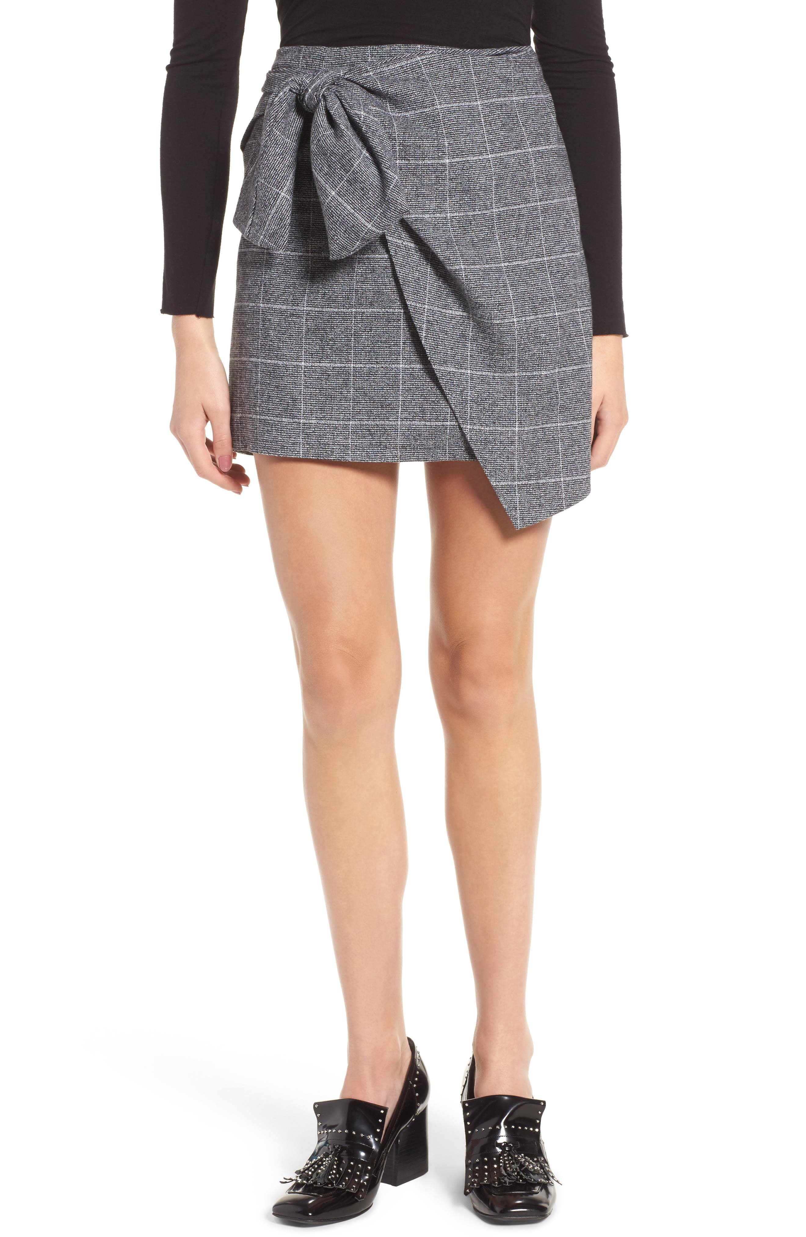 Faux Wrap Miniskirt,                         Main,                         color, Black Plaid