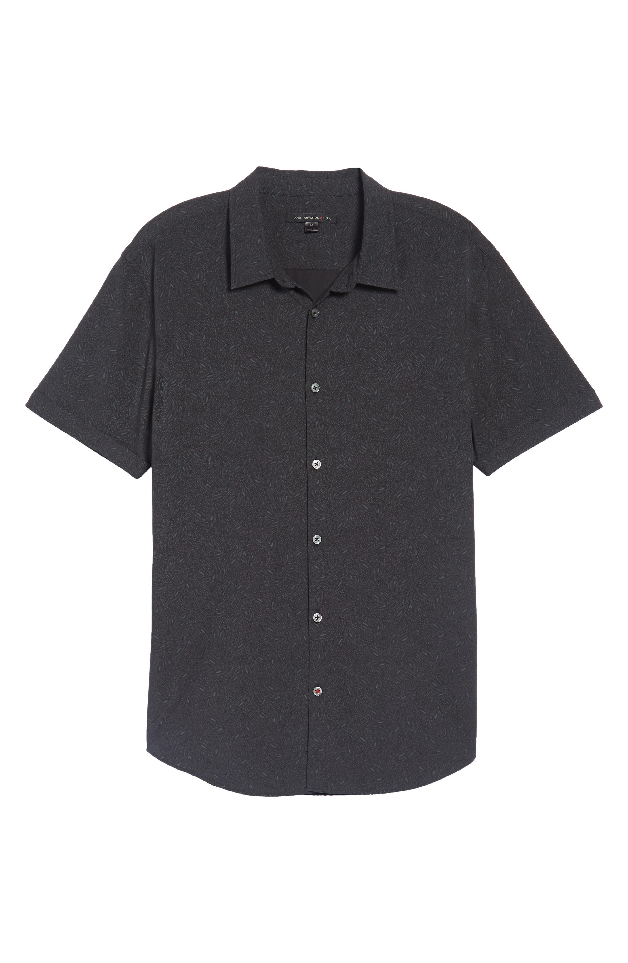 Mayfield Slim Fit Short Sleeve Sport Shirt,                             Alternate thumbnail 6, color,                             Midnight