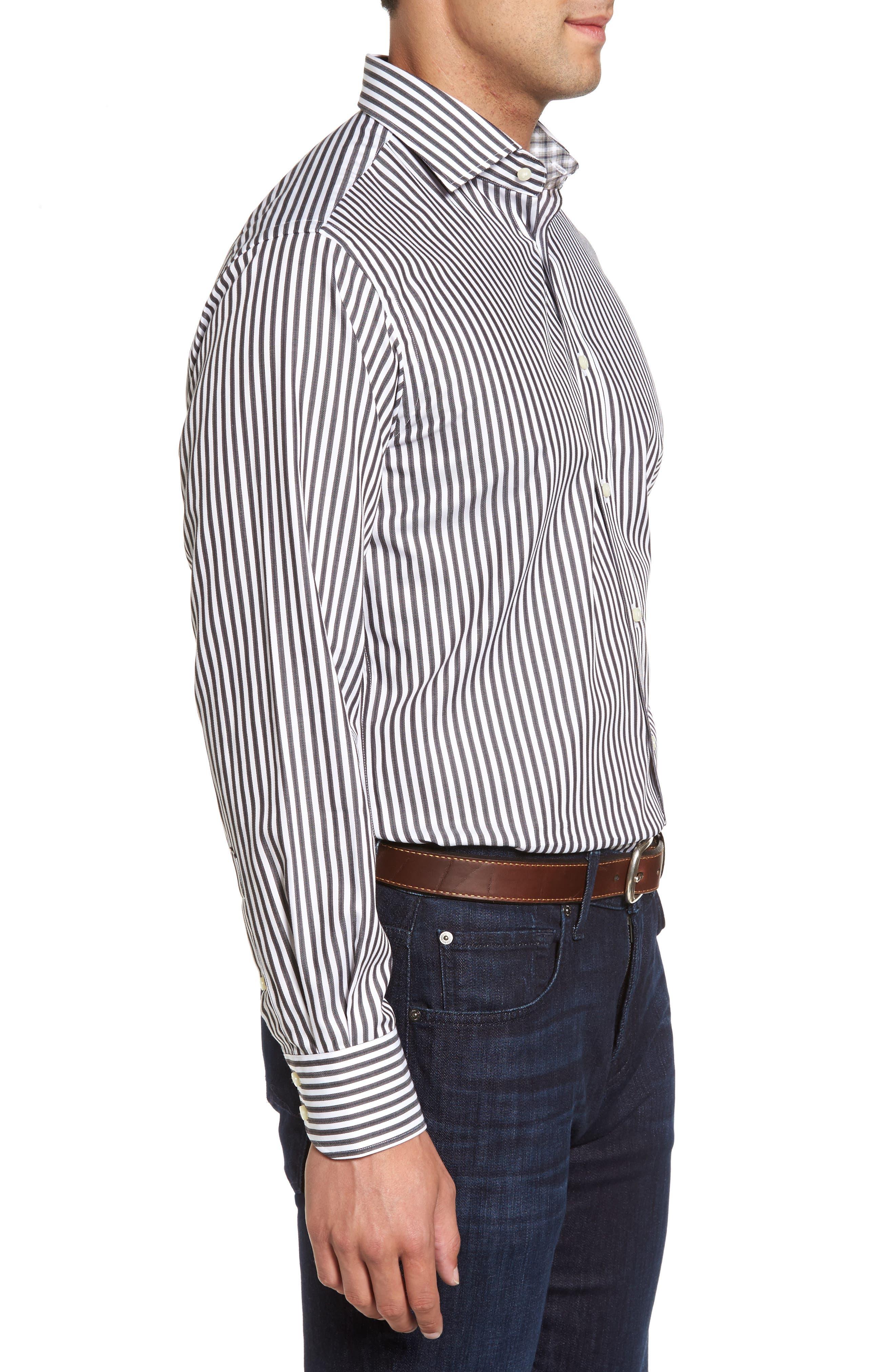 Alternate Image 3  - Thomas Dean Regular Fit Stripe Herringbone Sport Shirt