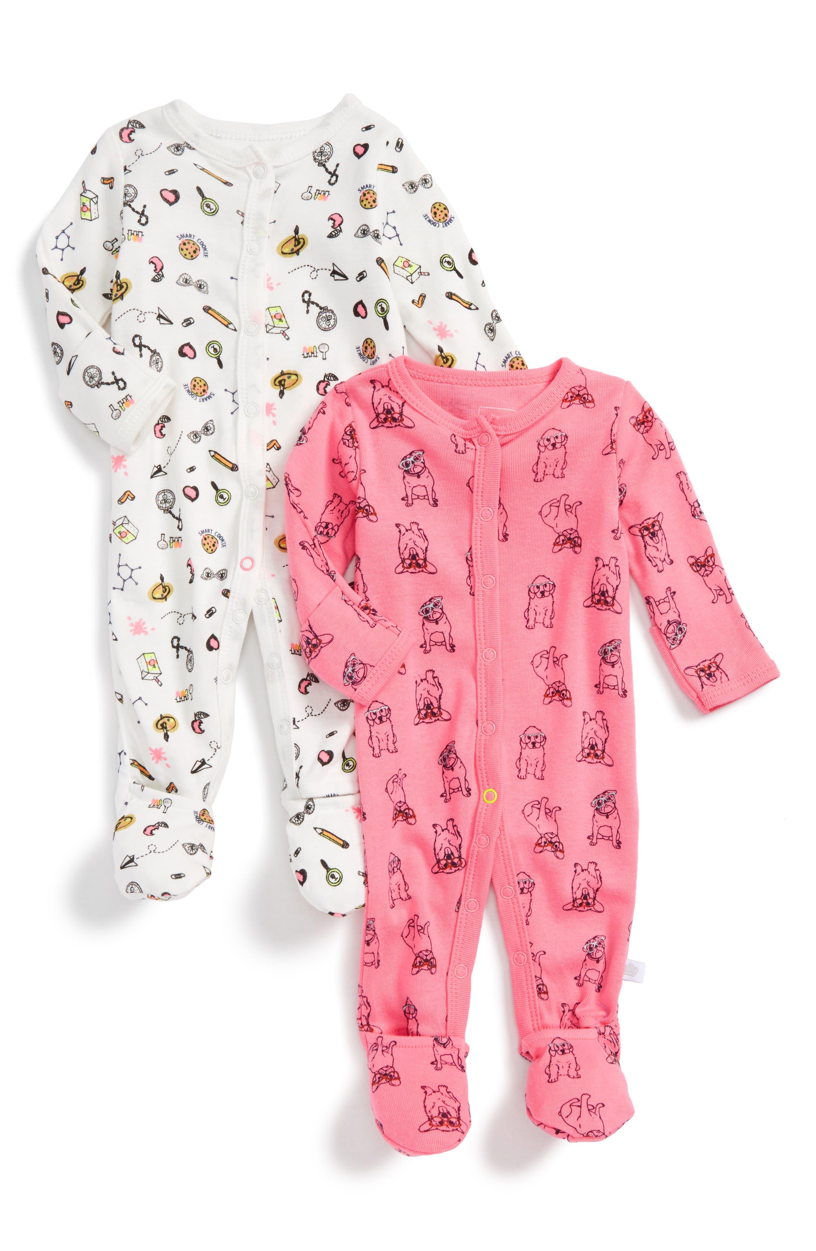 Alternate Image 1 Selected - Rosie Pope 2-Pack Print Footies (Baby Girls)