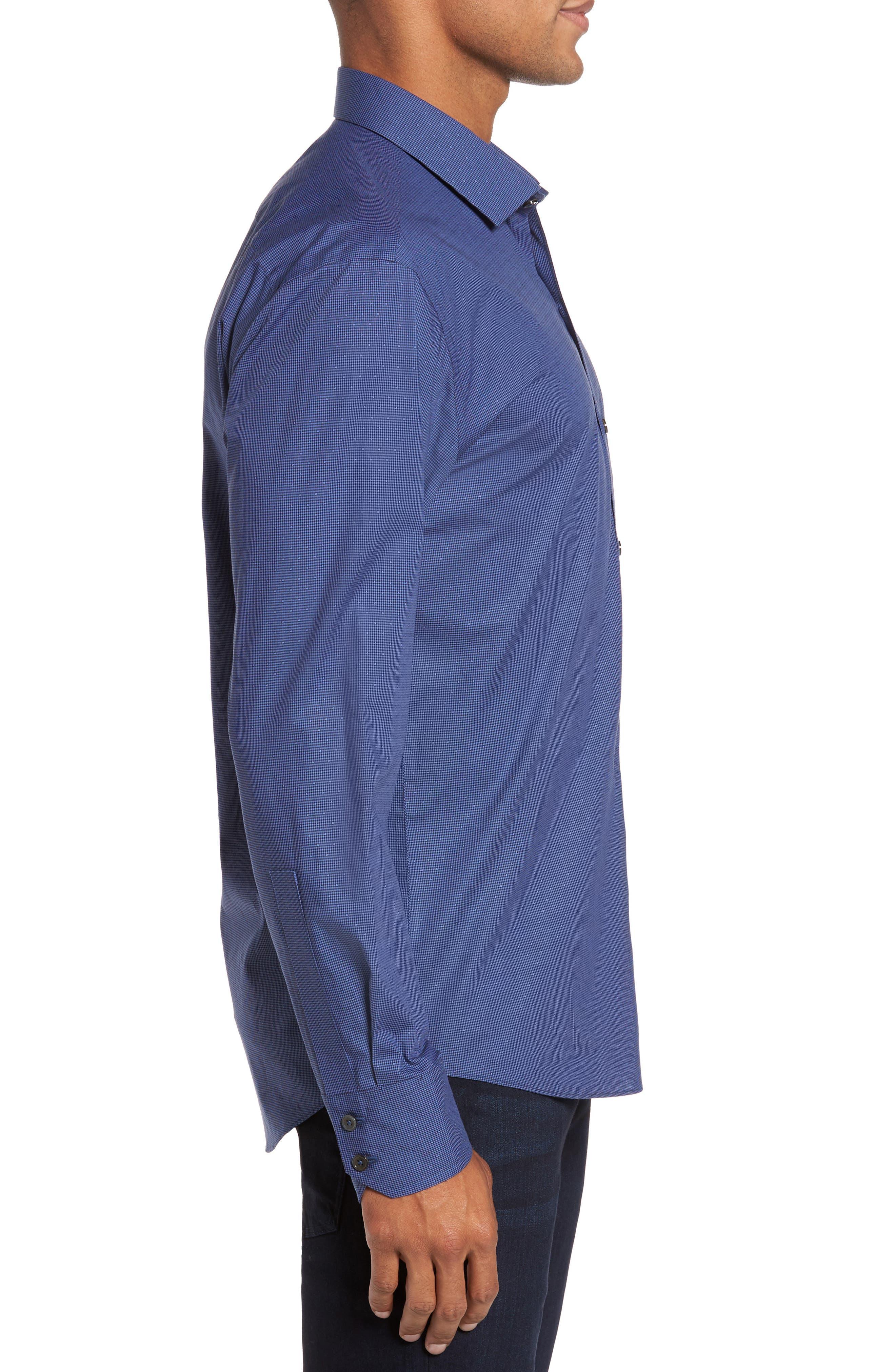 Galileo Dobby Microcheck Sport Shirt,                             Alternate thumbnail 3, color,                             Navy