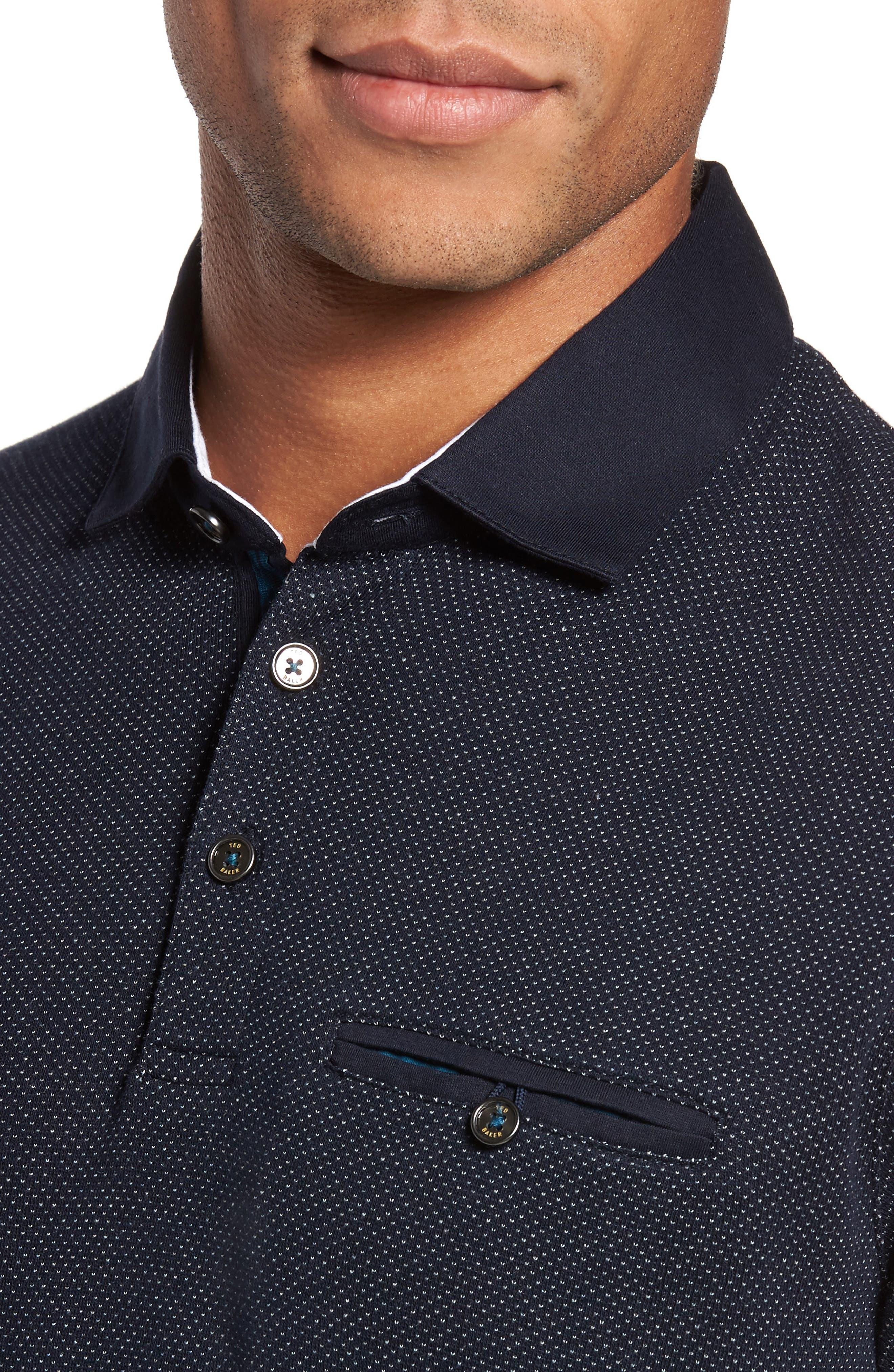 Alburt Modern Slim Fit Polo,                             Alternate thumbnail 4, color,                             Navy