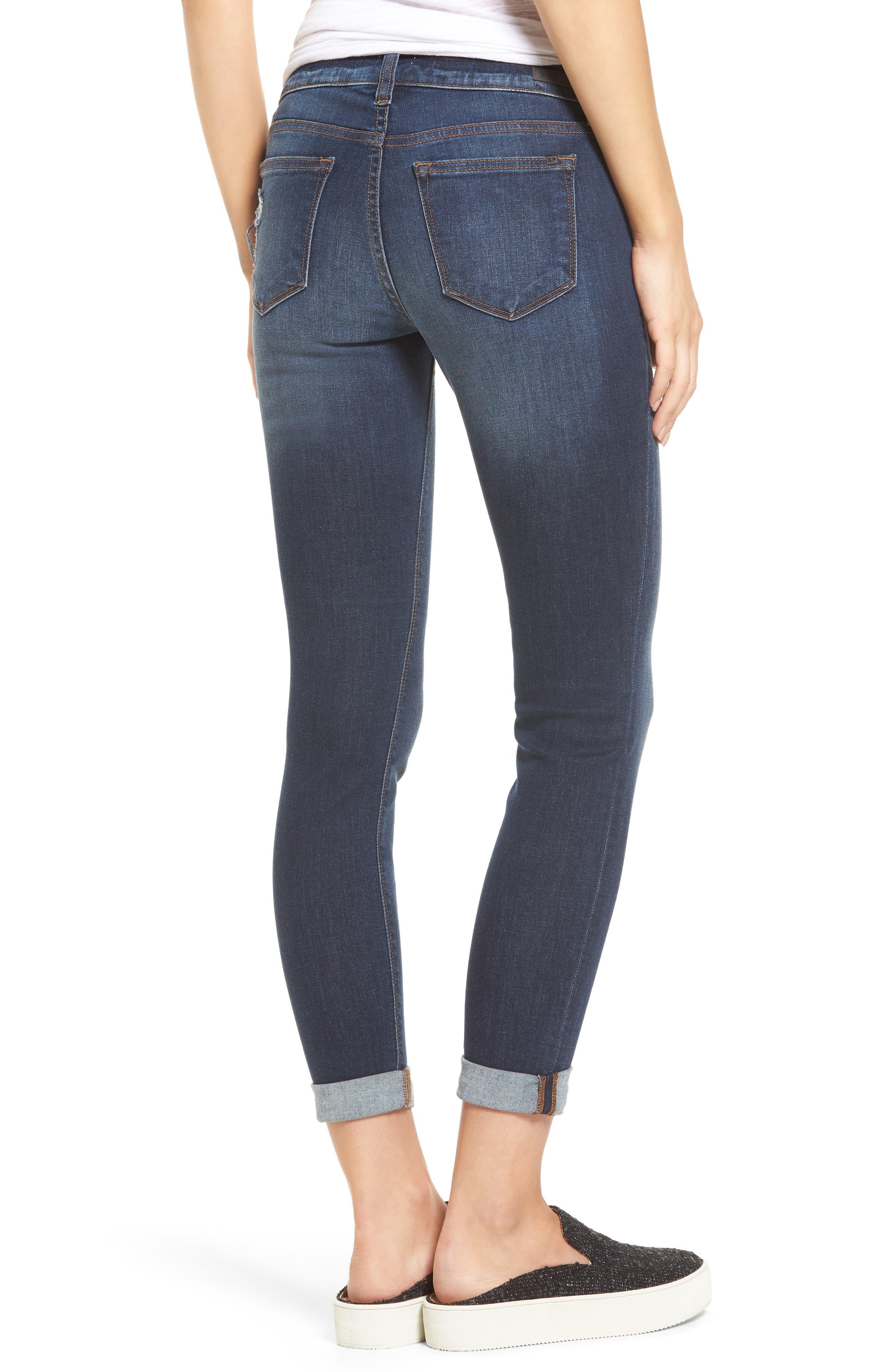 Roll Cuff Skinny Jeans,                             Alternate thumbnail 2, color,                             Dark Wash